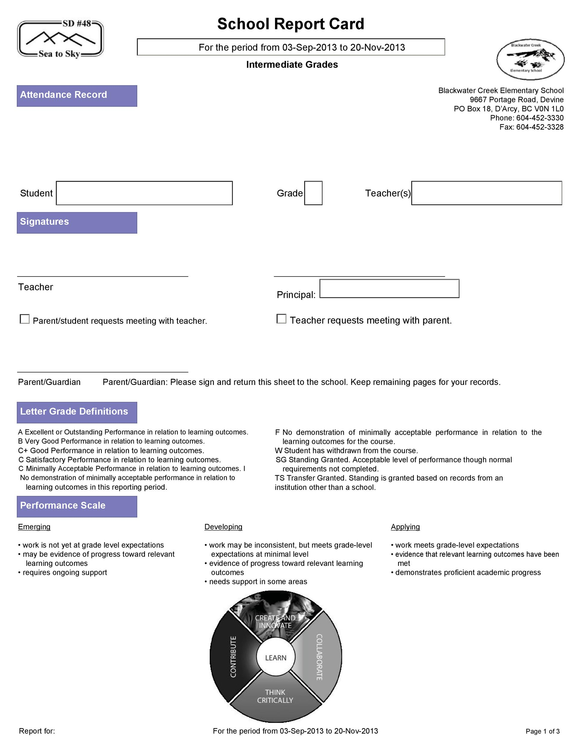 Free Report Card Template 12