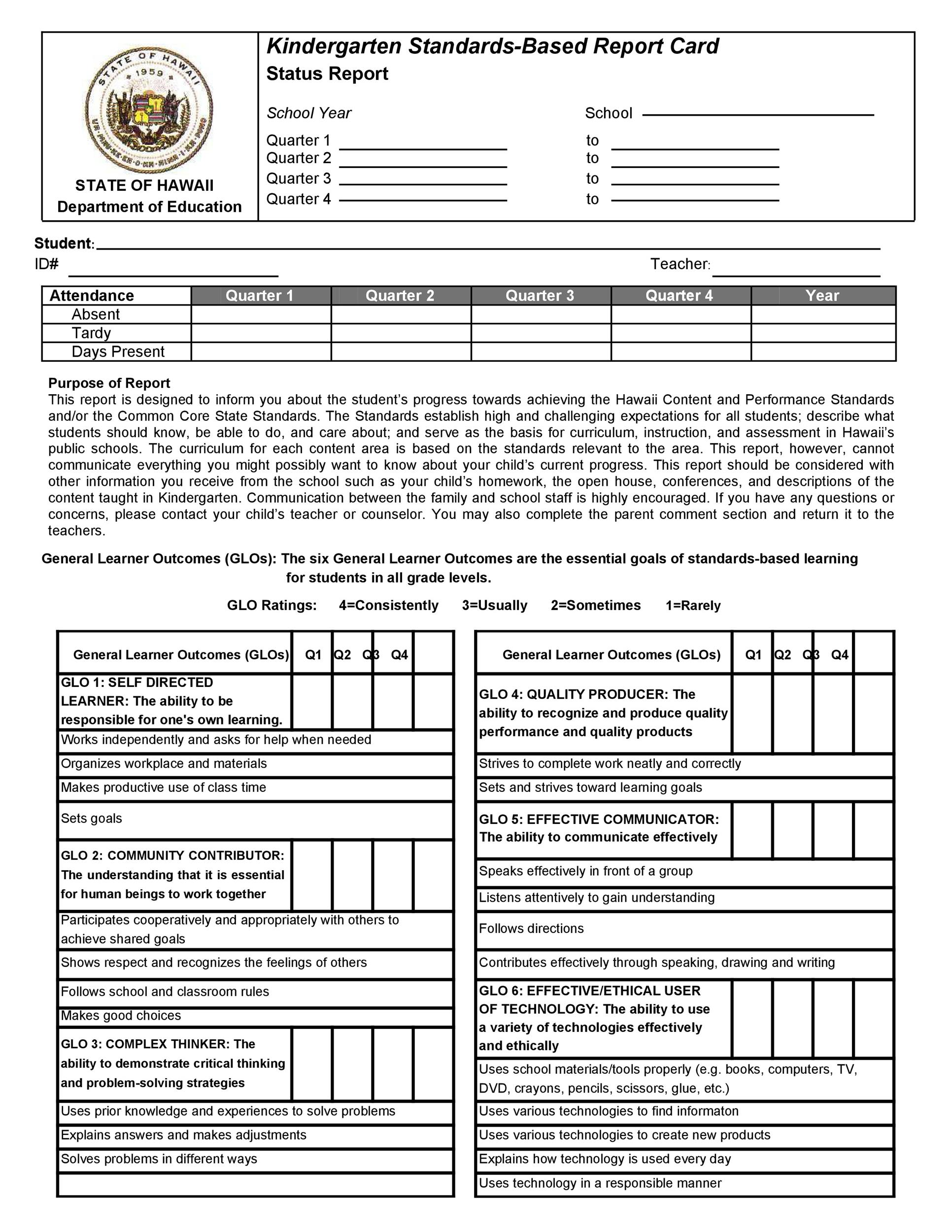 Free Report Card Template 14