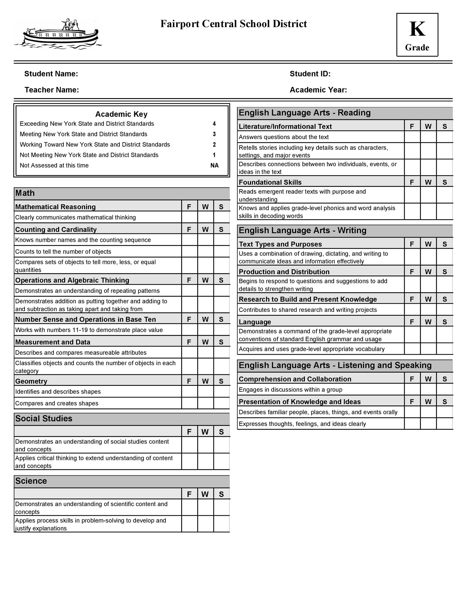 Printable Report Card Template 15
