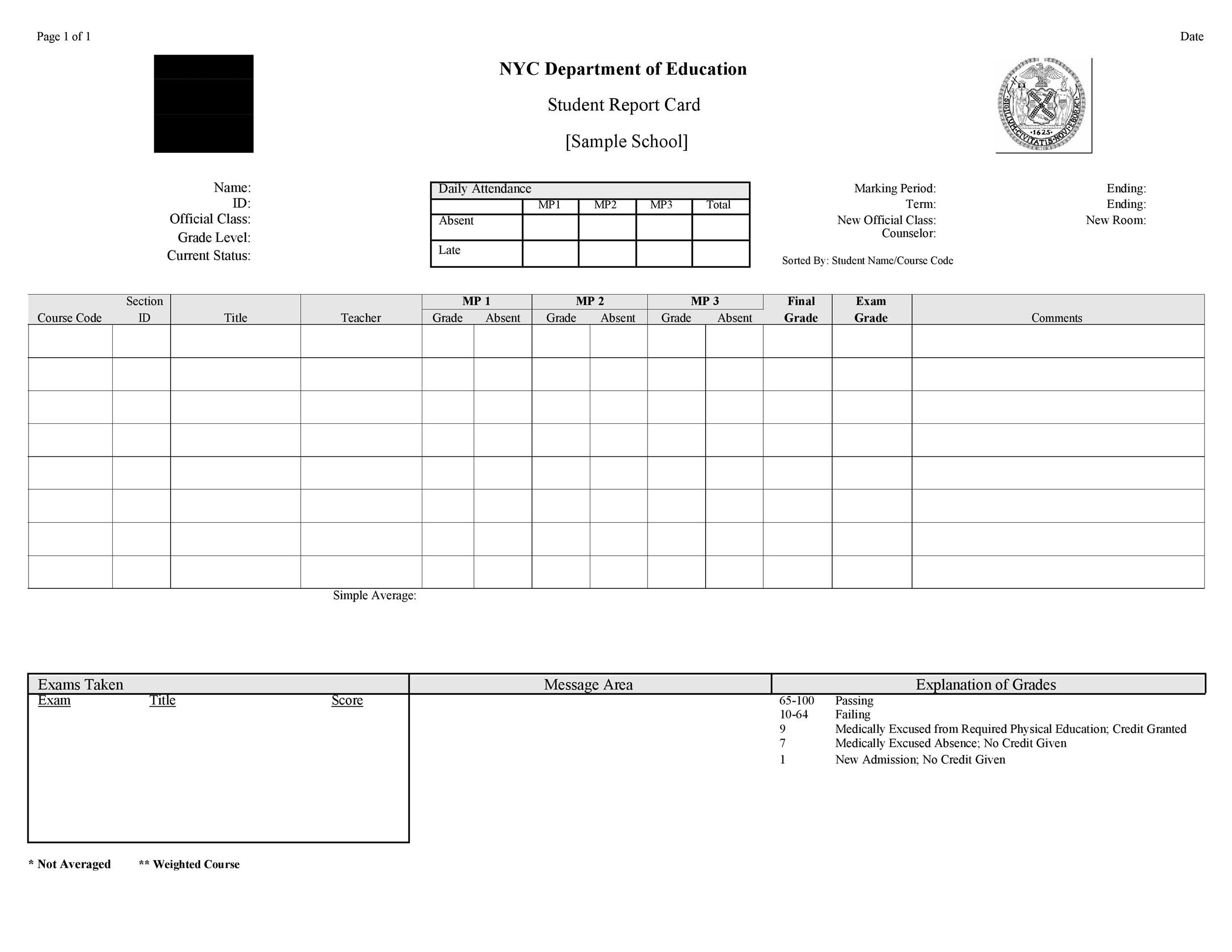 Free Report Card Template 18