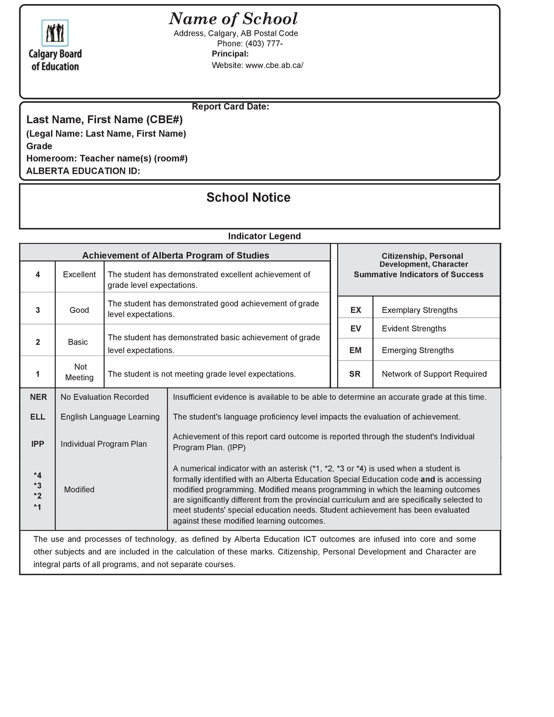 Free Report Card Template 25
