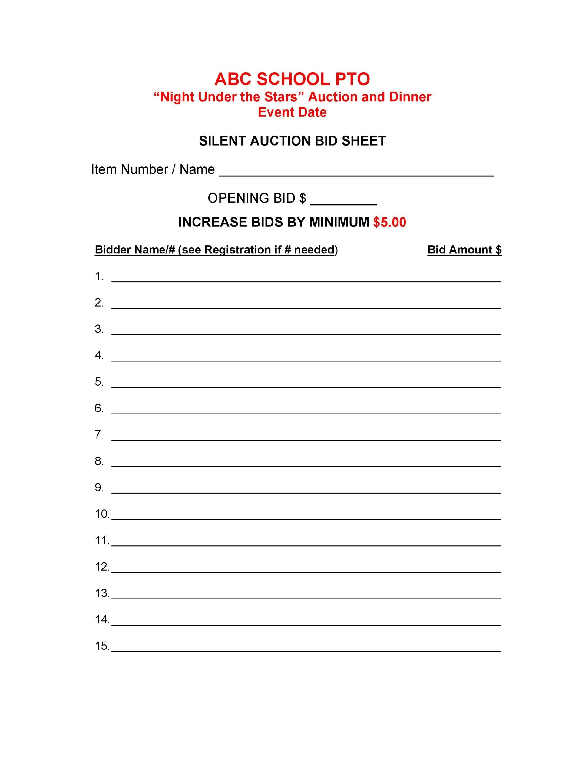 Free Silent Auction Bid Sheet 04
