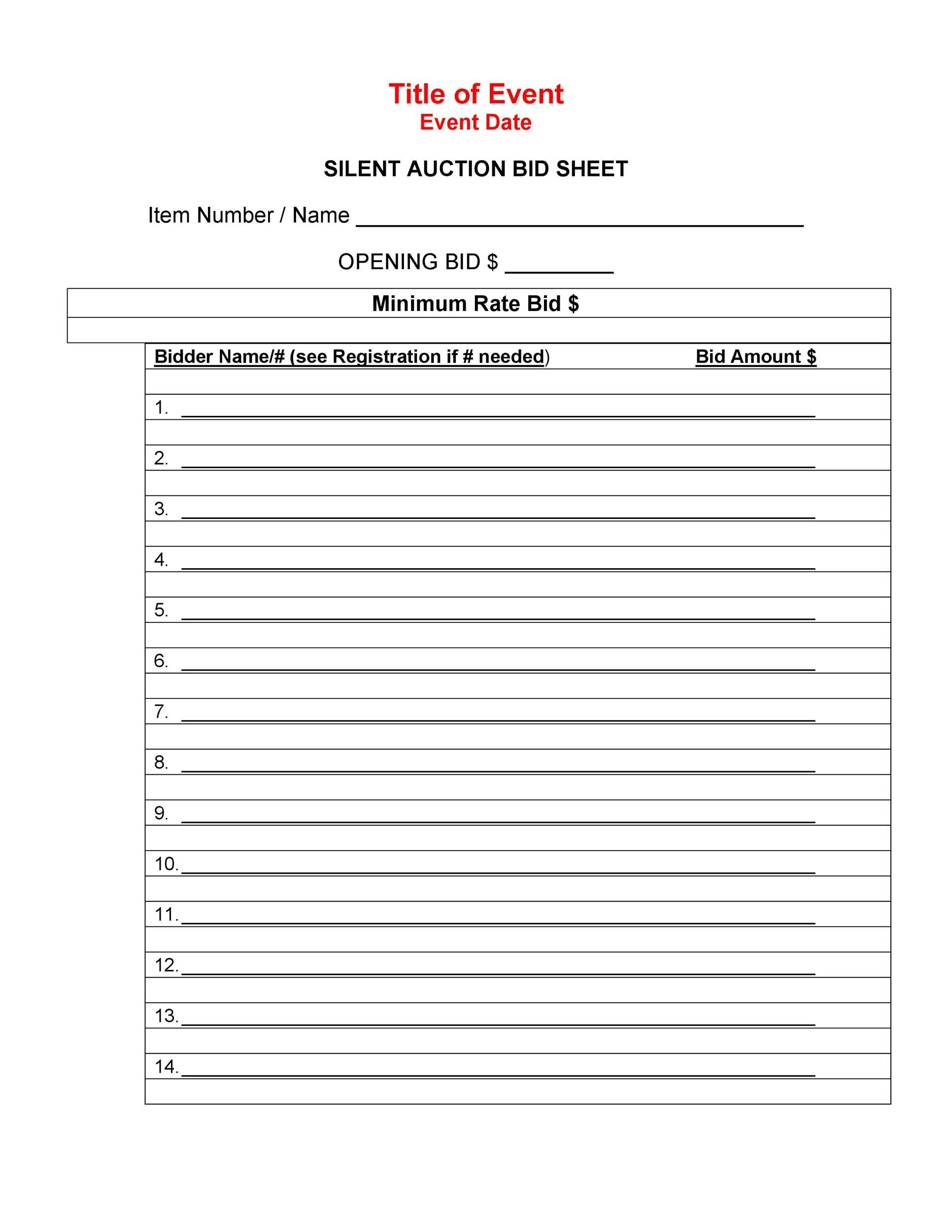 Free Silent Auction Bid Sheet 07