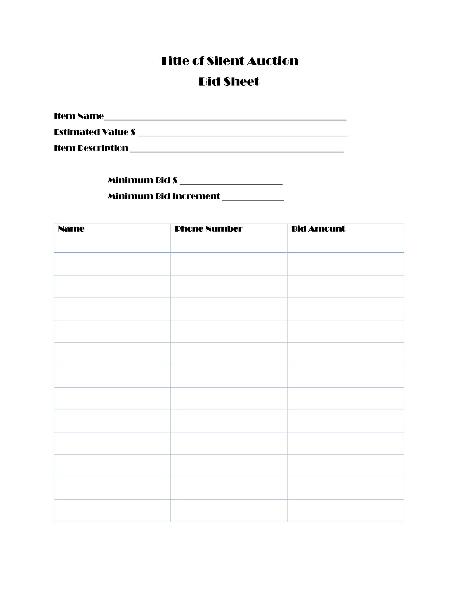 photo relating to Printable Silent Auction Bid Sheets named 40+ Quiet Auction Bid Sheet Templates [Term, Excel] ᐅ