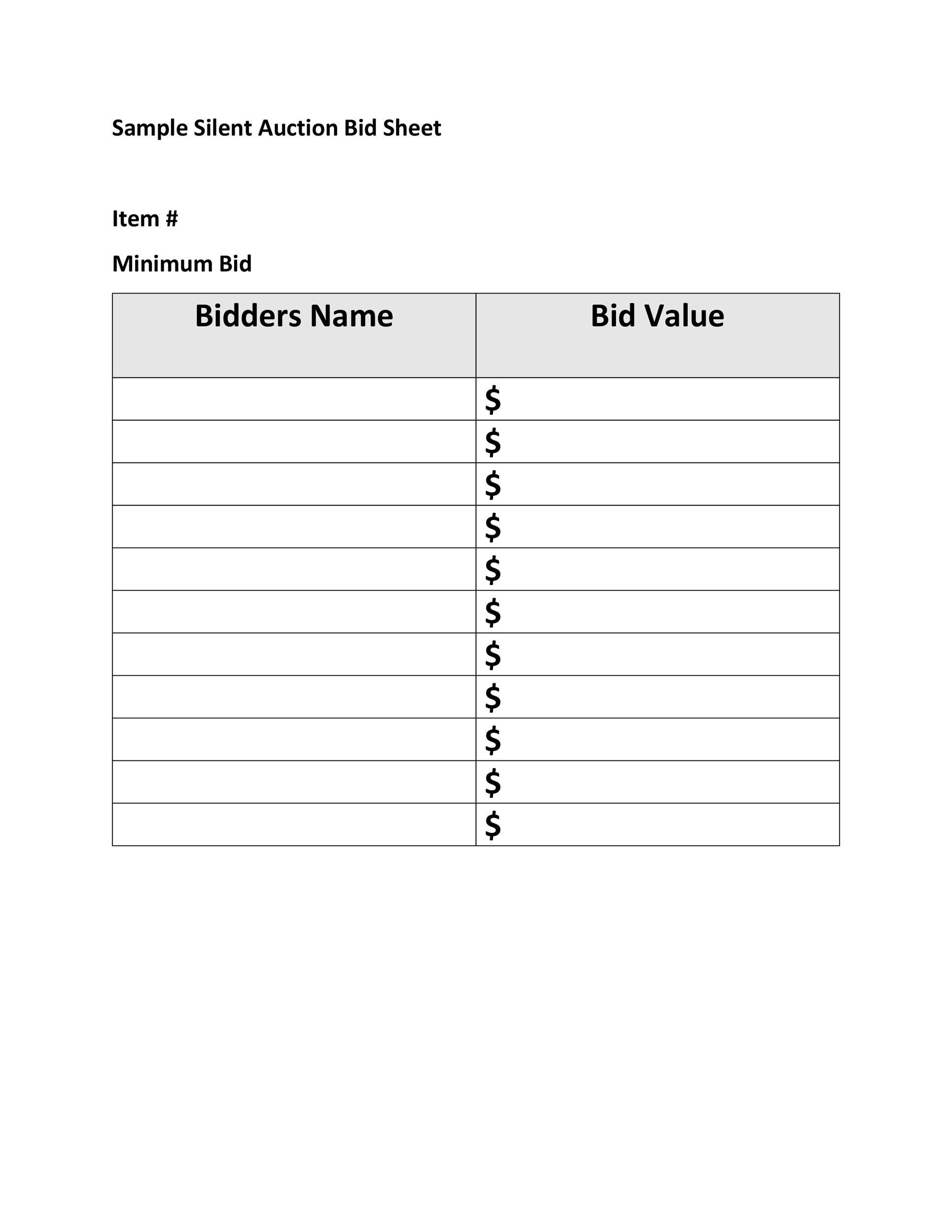 Free Silent Auction Bid Sheet 11