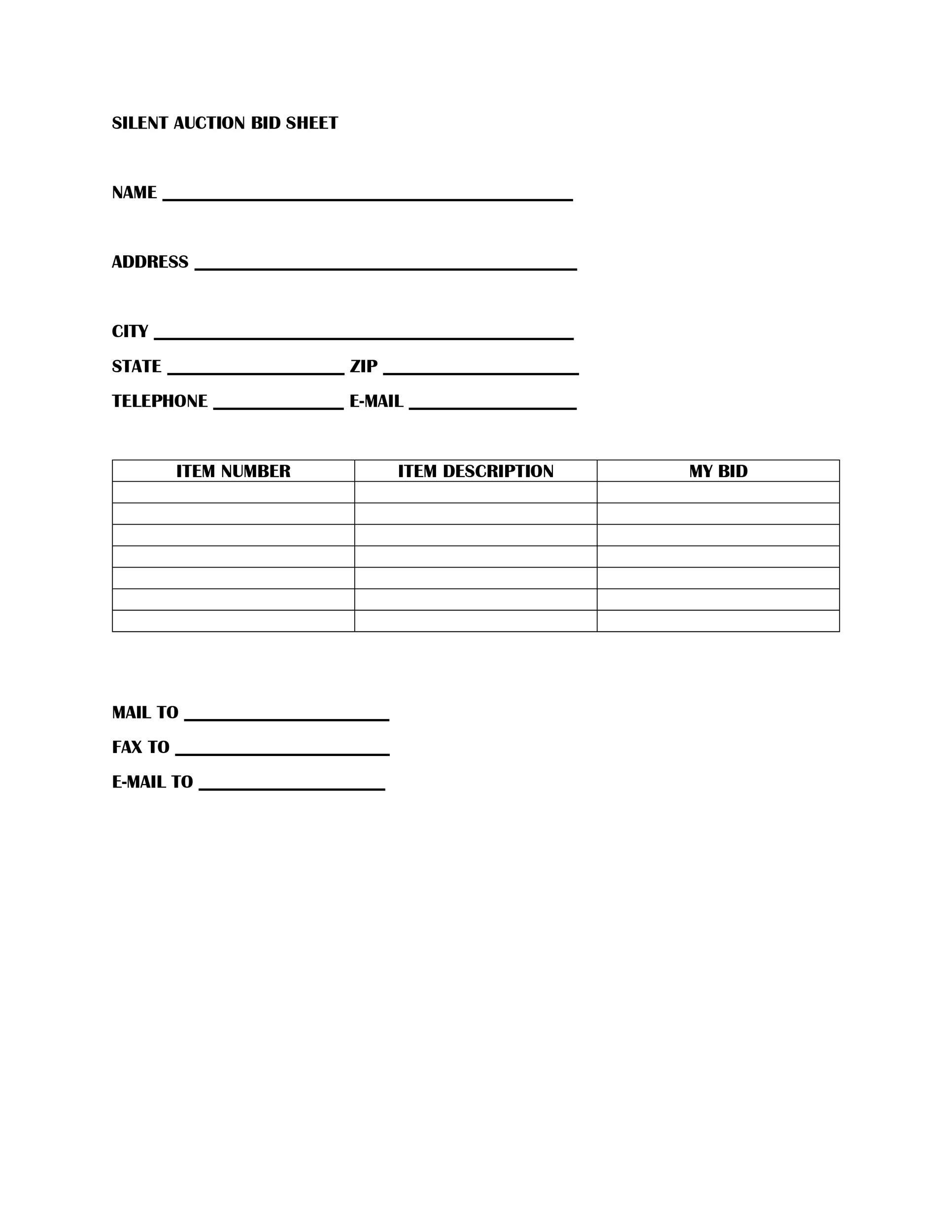 Free Silent Auction Bid Sheet 17