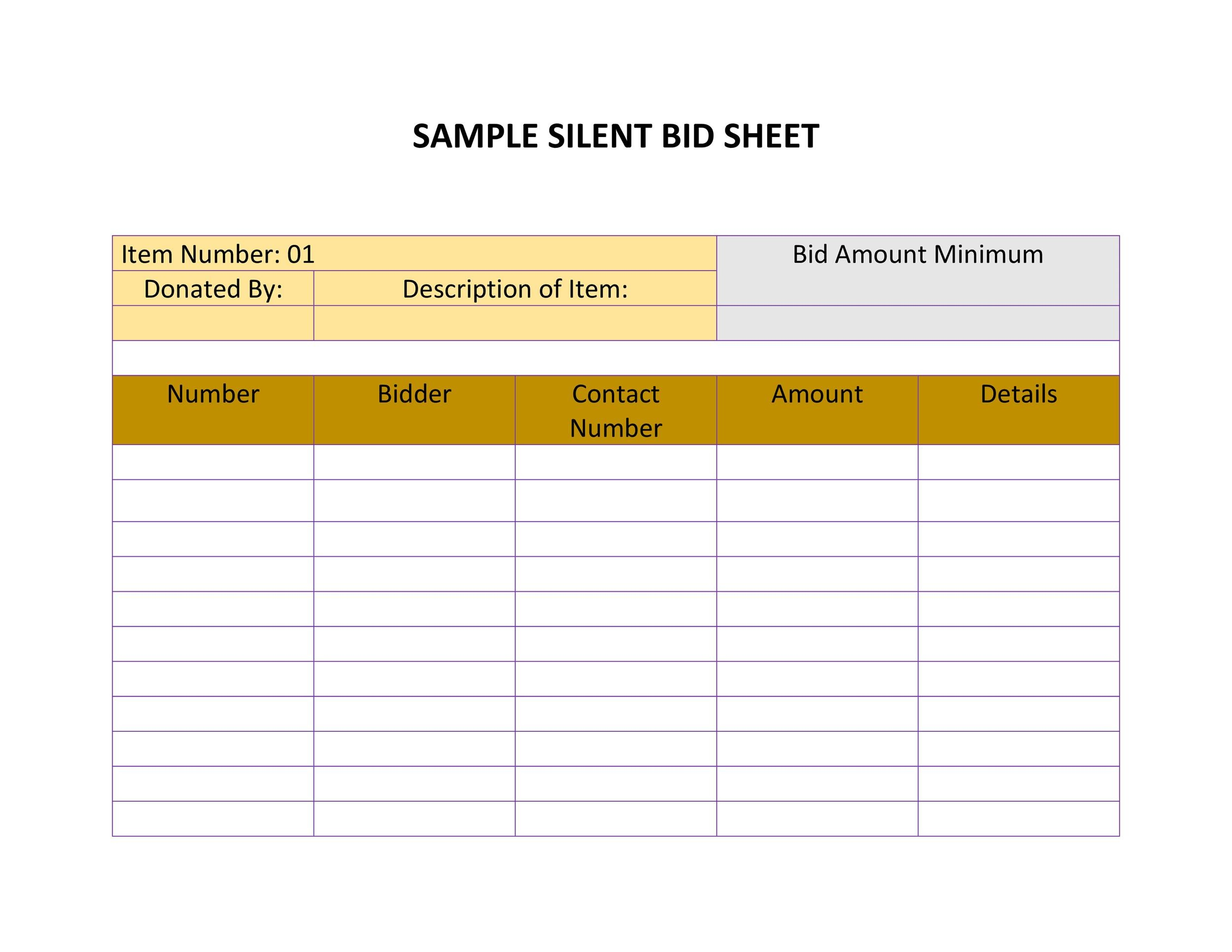 Free Silent Auction Bid Sheet 19