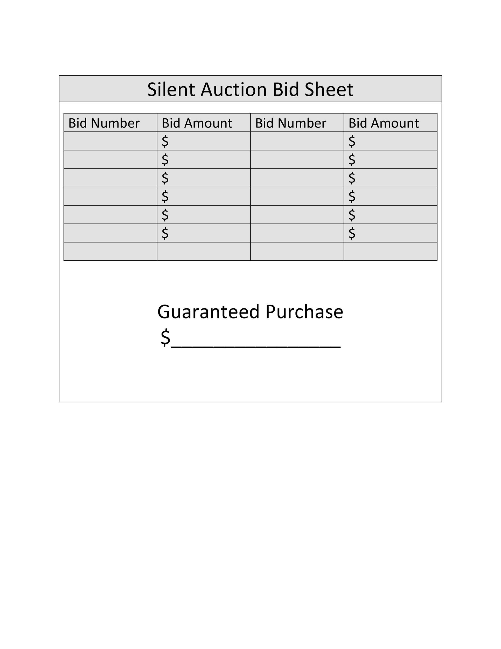 Free Silent Auction Bid Sheet 20