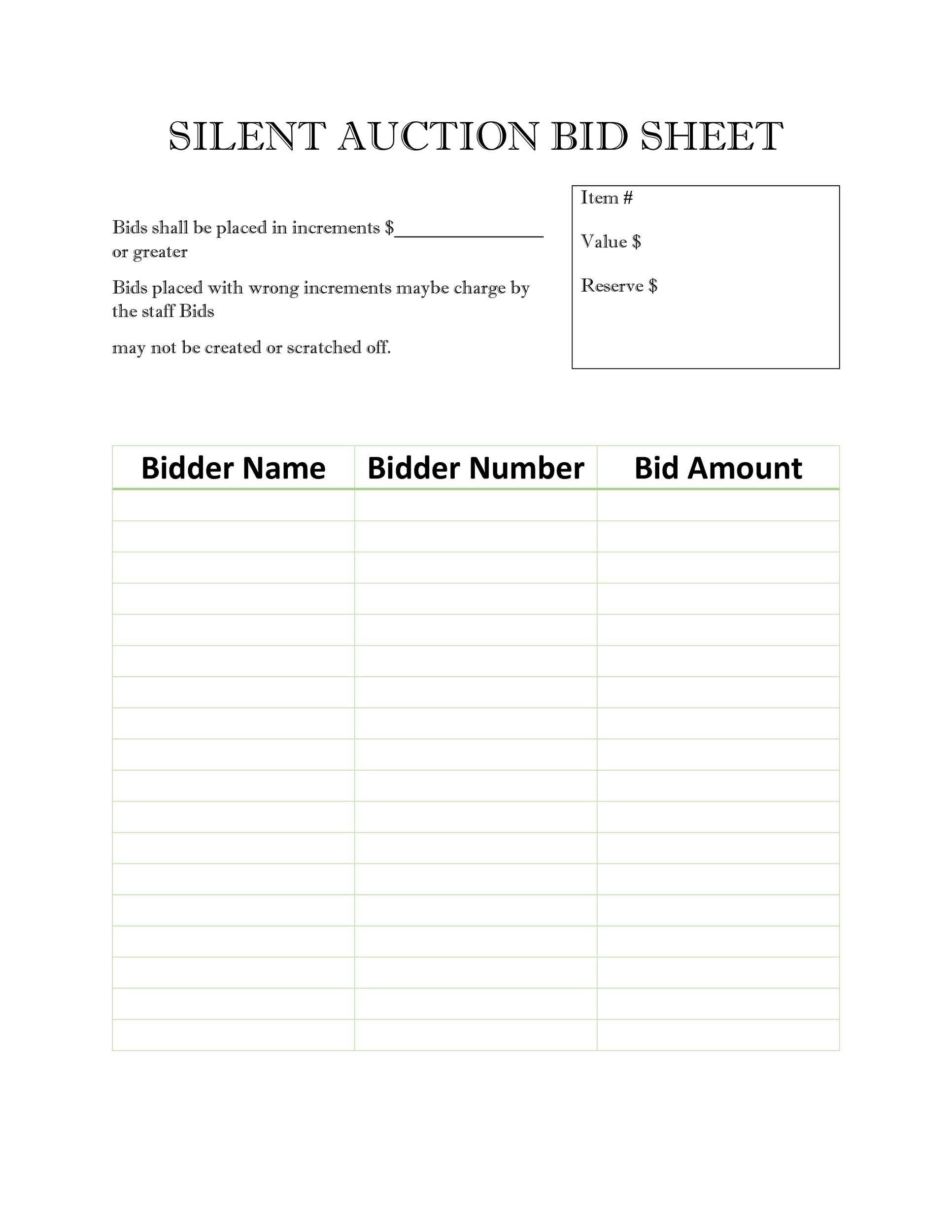 Free Silent Auction Bid Sheet 21