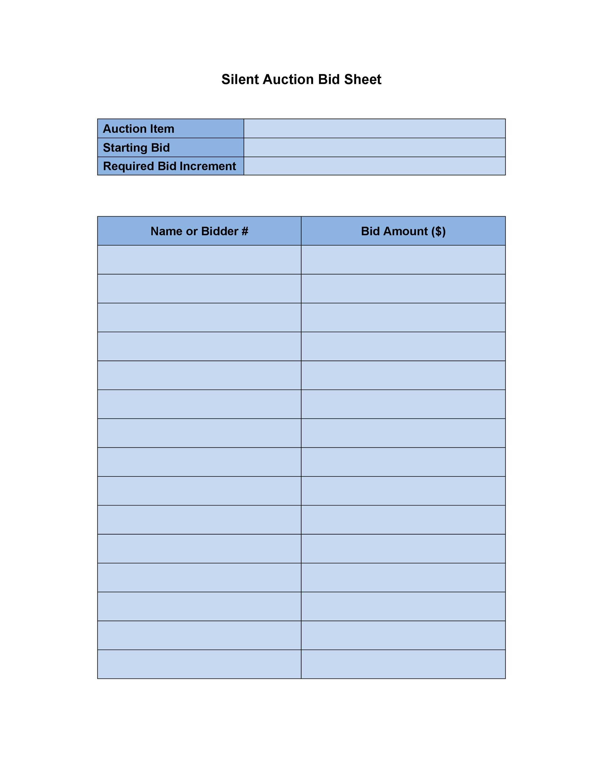 photo about Printable Silent Auction Bid Sheets known as 40+ Tranquil Auction Bid Sheet Templates [Phrase, Excel] ᐅ