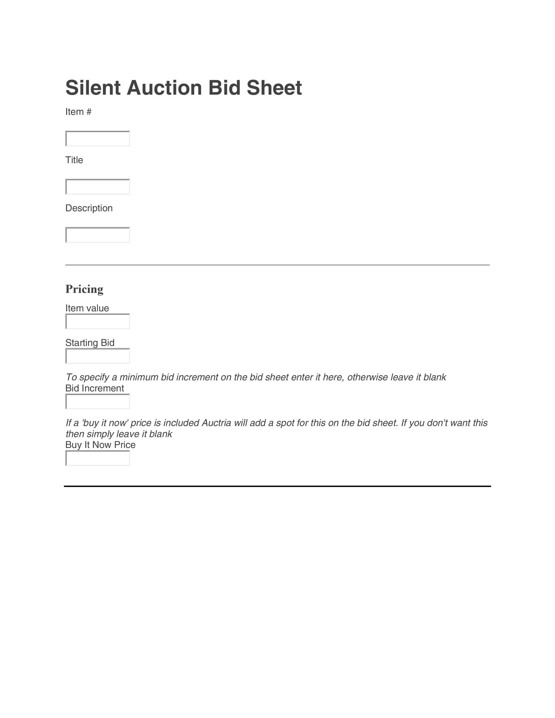 Free Silent Auction Bid Sheet 27