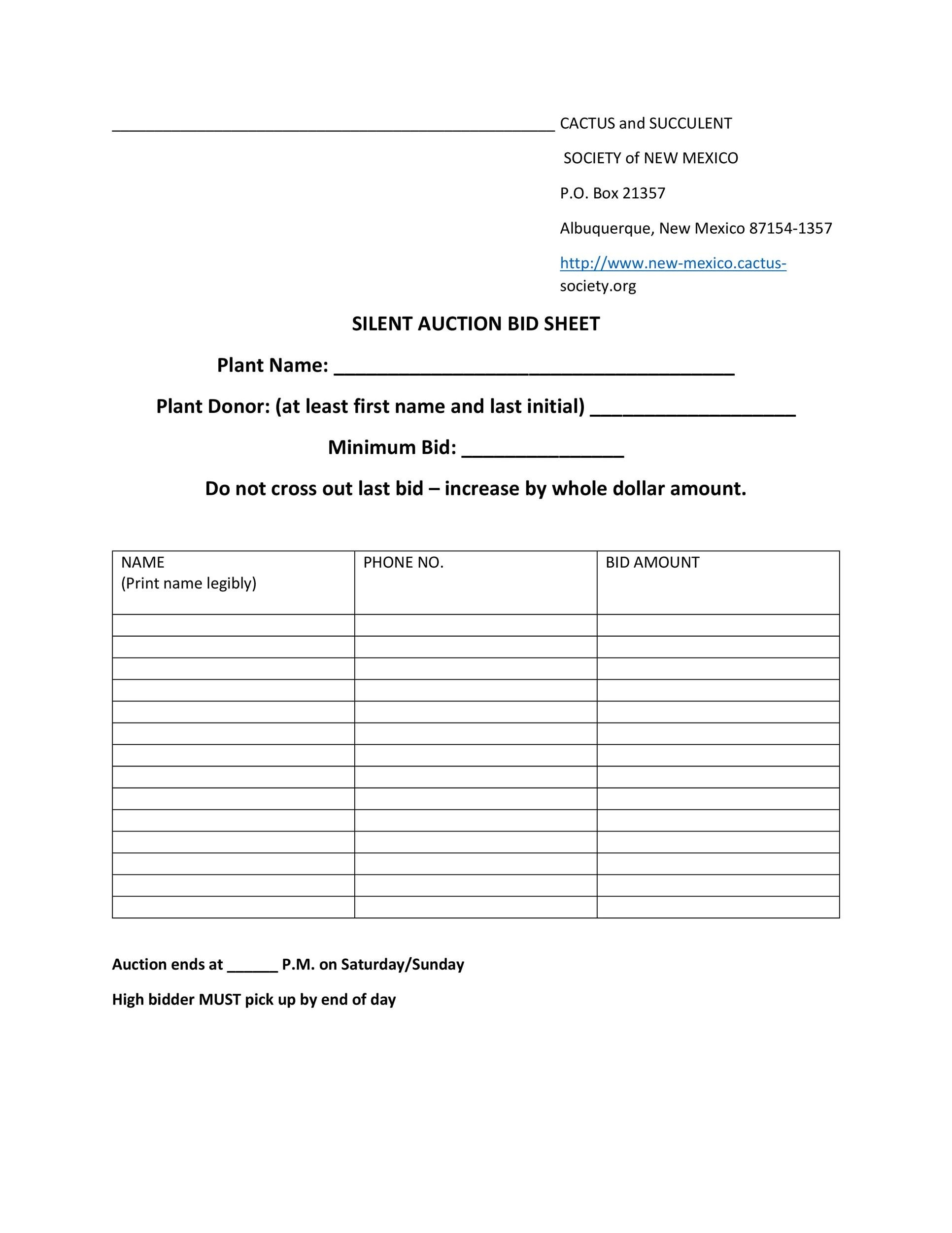 Free Silent Auction Bid Sheet 29