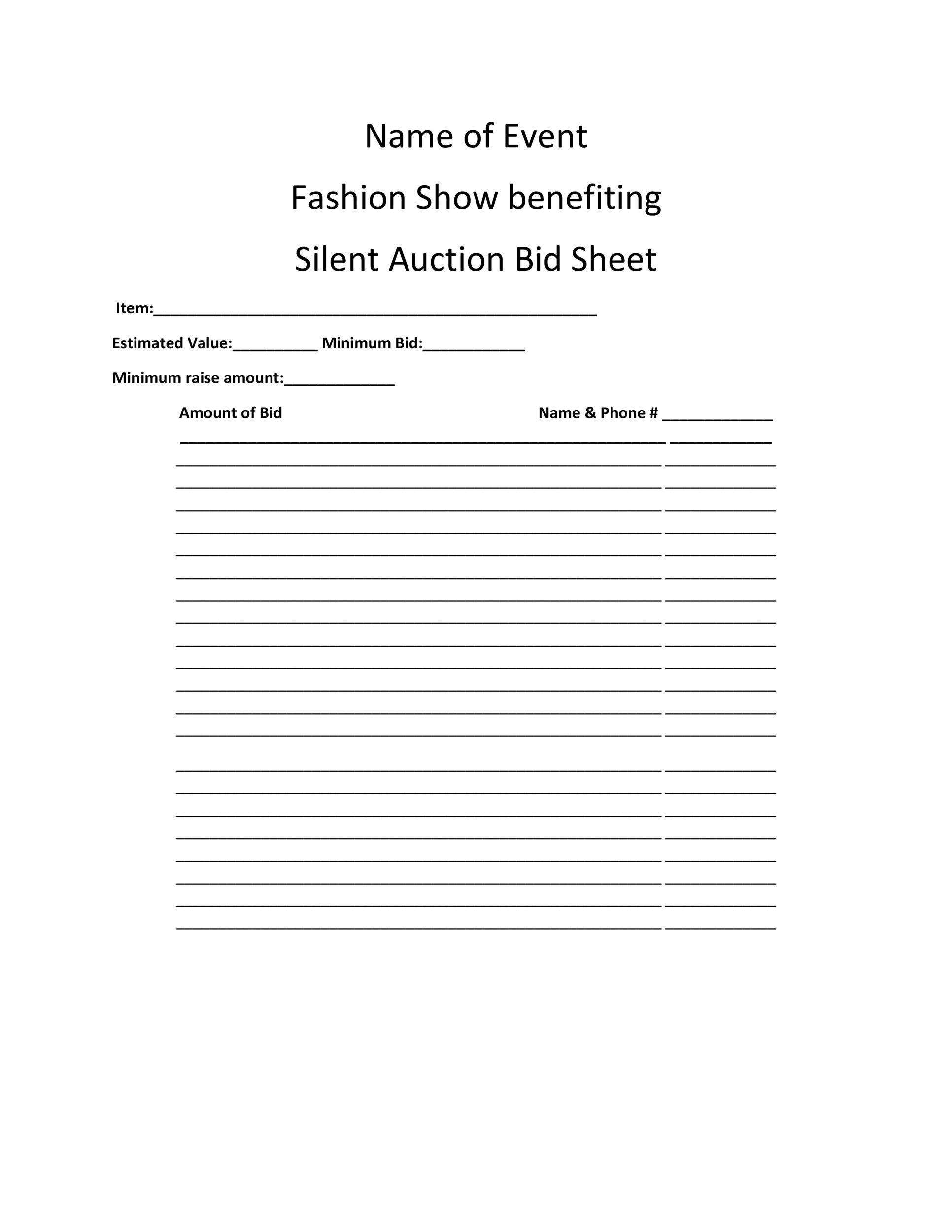 Free Silent Auction Bid Sheet 31