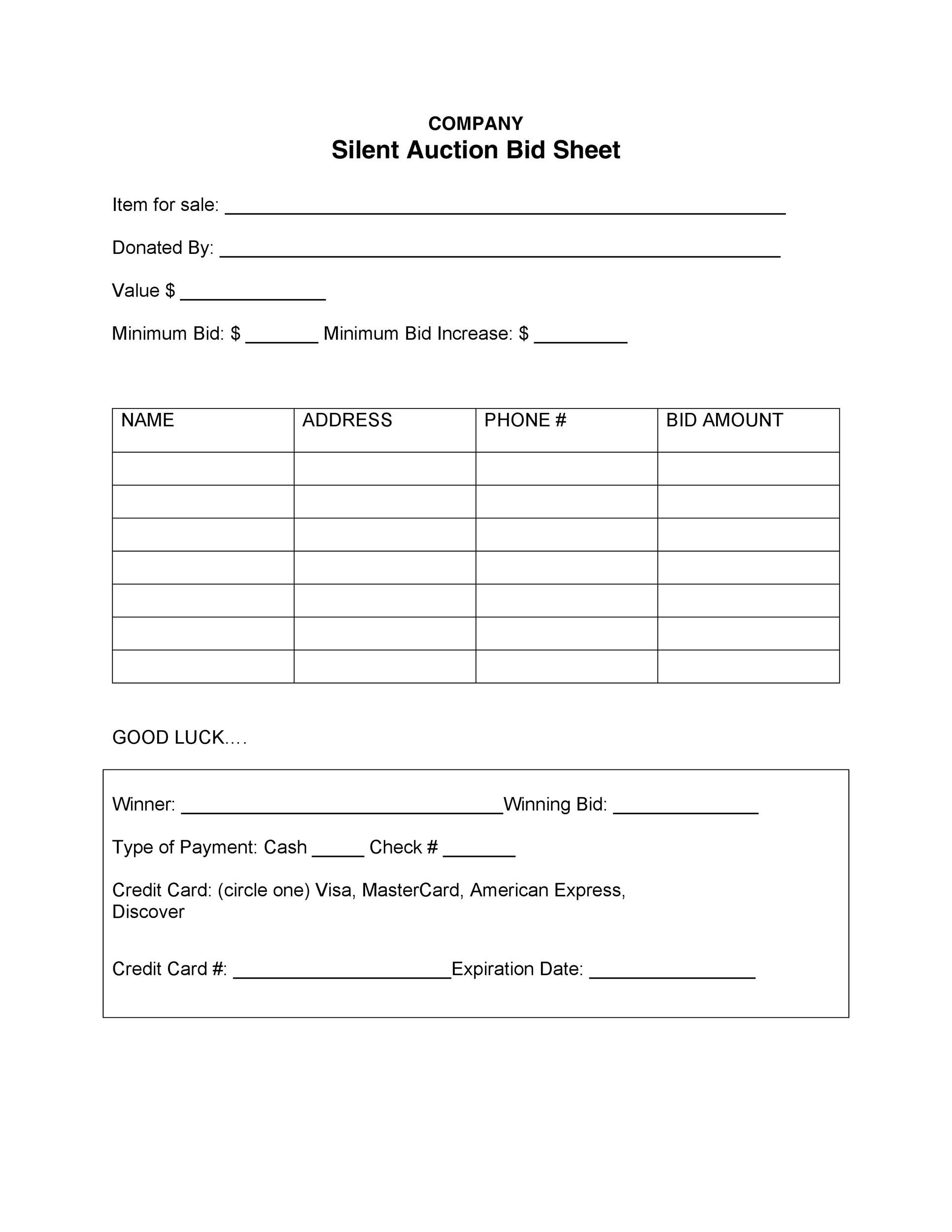 Free Silent Auction Bid Sheet 33