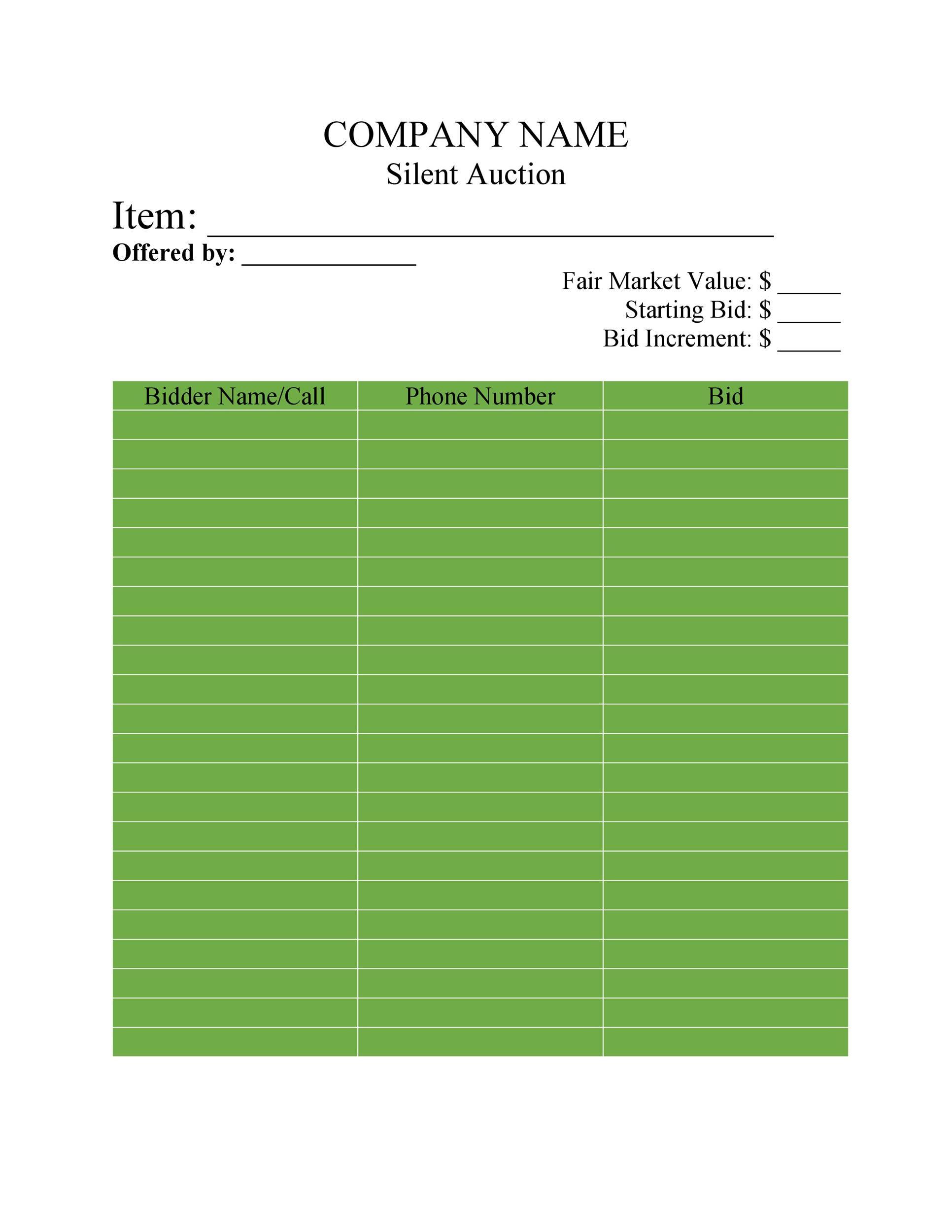 Free Silent Auction Bid Sheet 34
