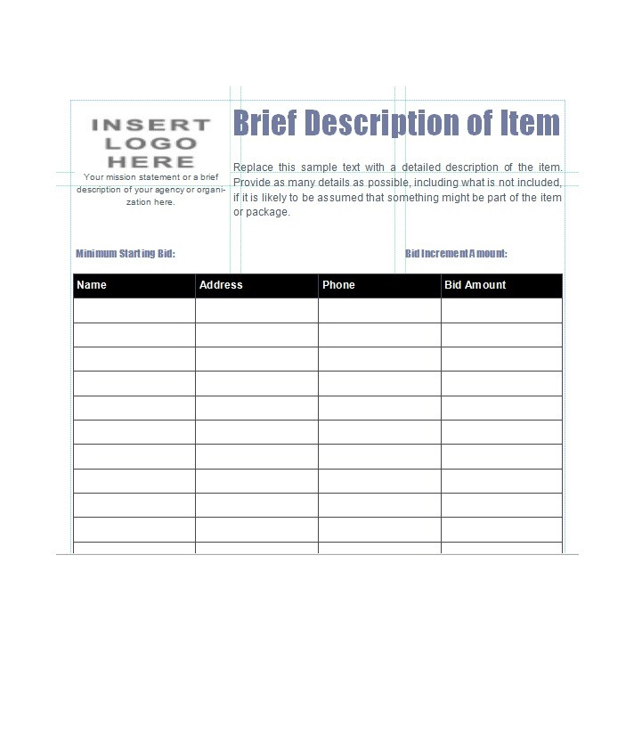 40 silent auction bid sheet templates word excel for Auction bid cards template