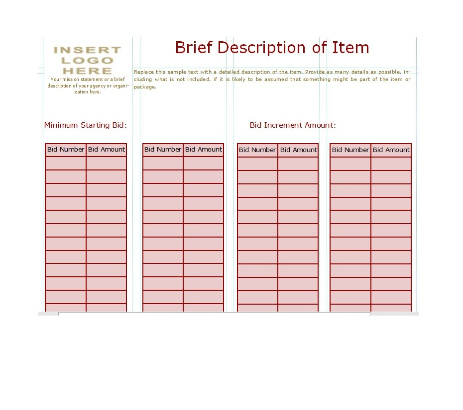 Silent Auction Bid Sheet