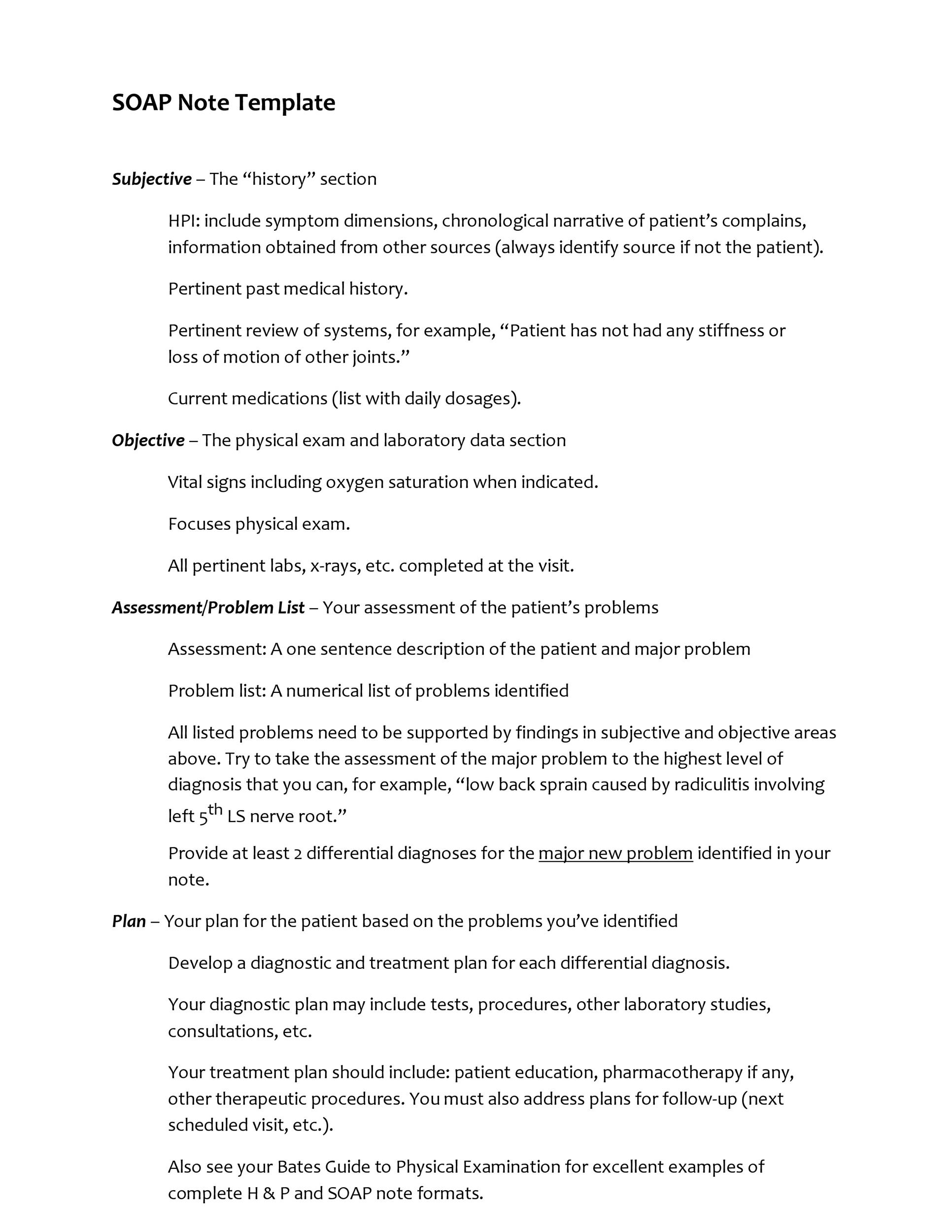 Free Soap Note Template 01