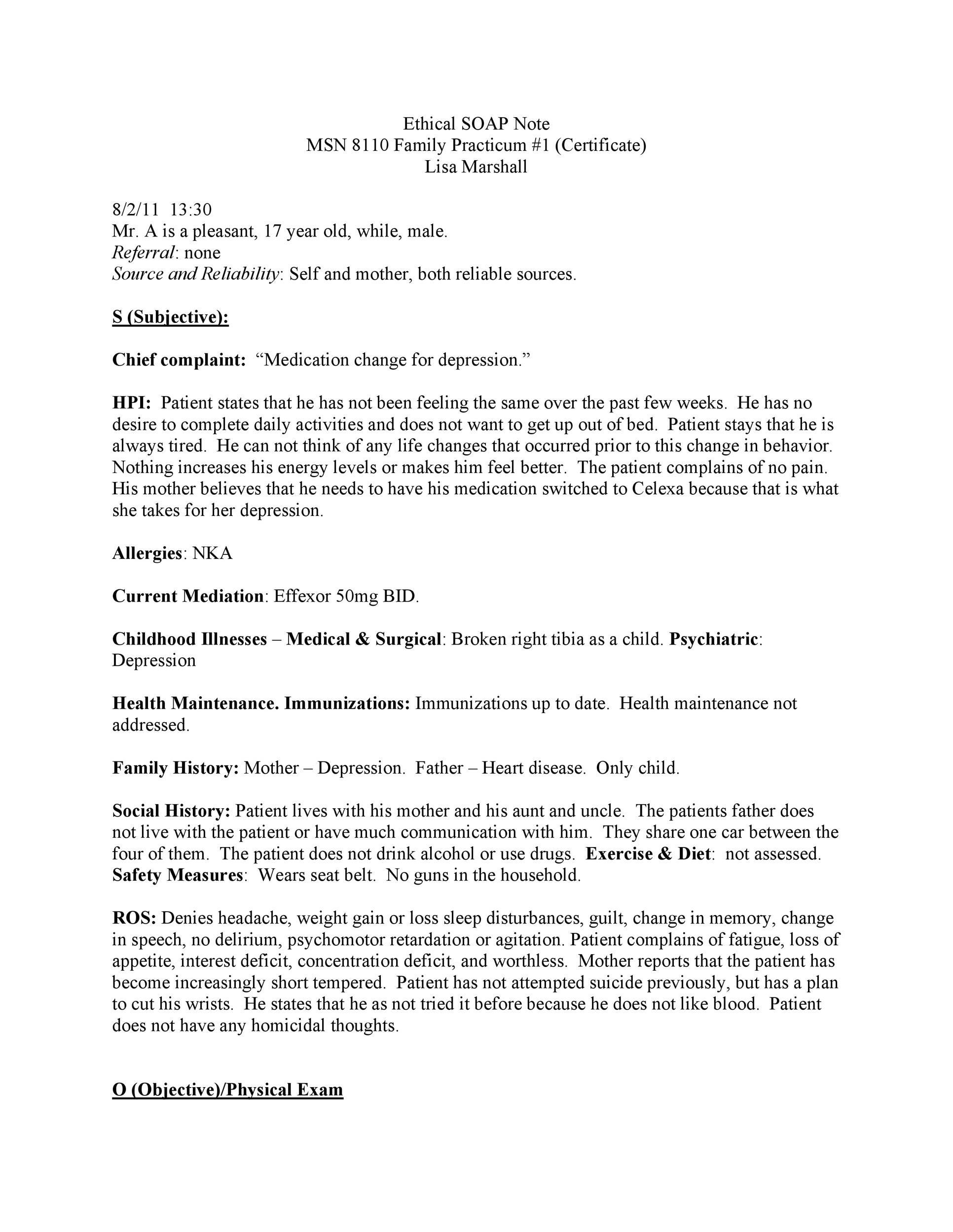 Free Soap Note Template 06