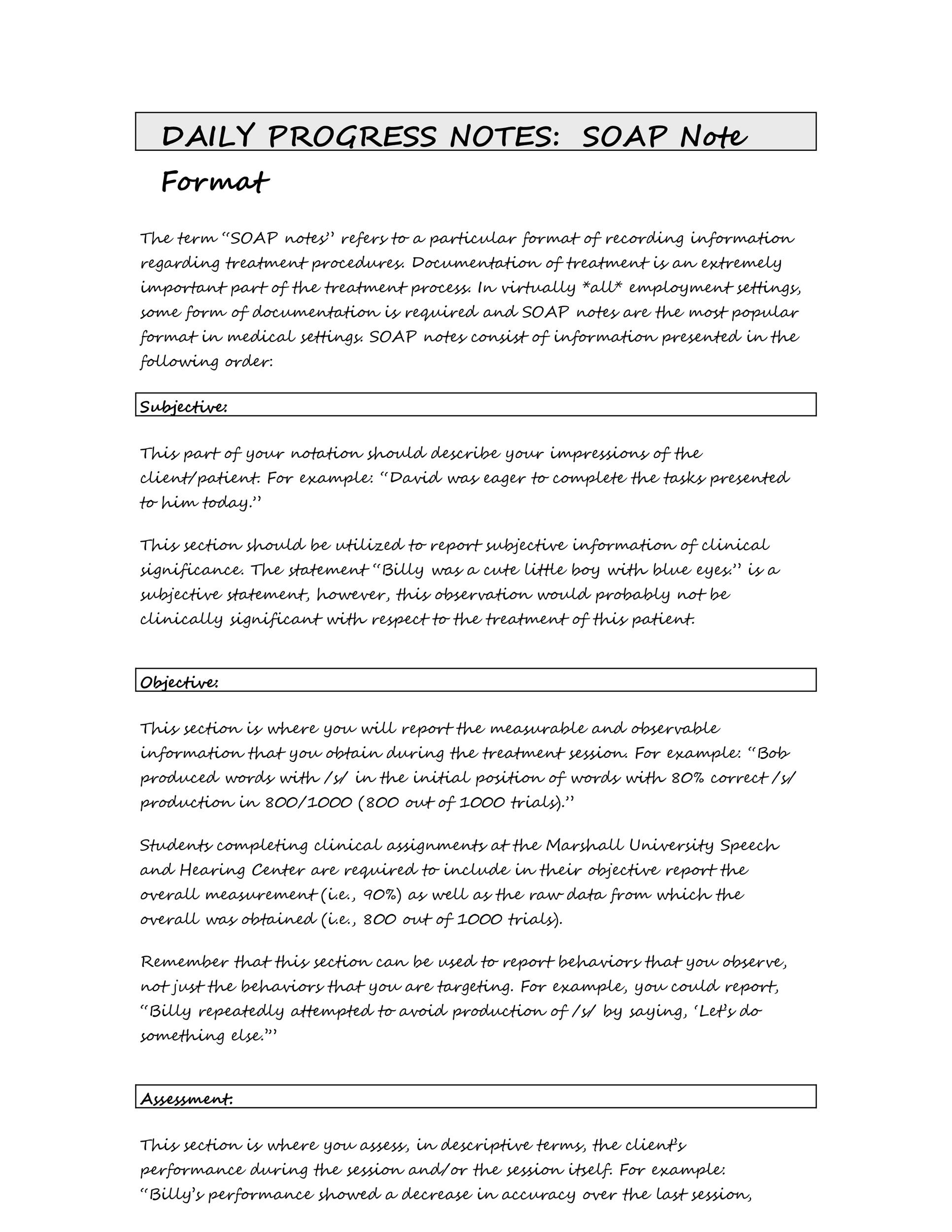 Free Soap Note Template 11