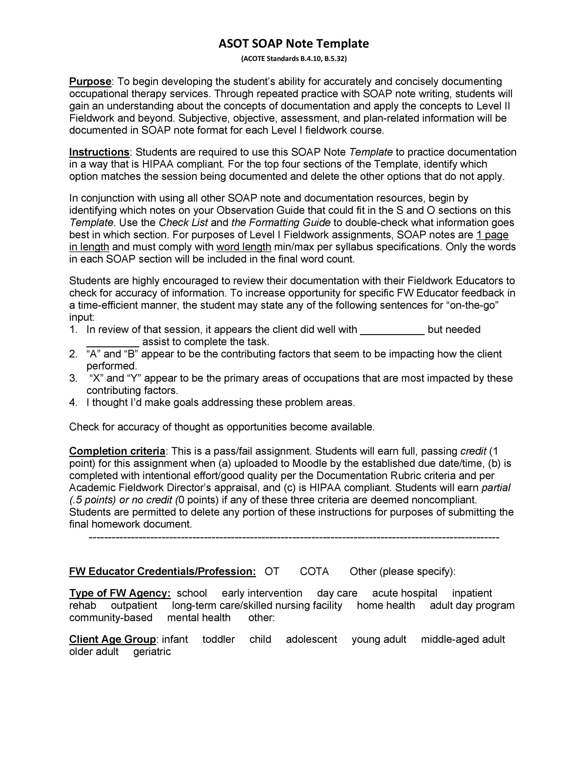 Free Soap Note Template 13