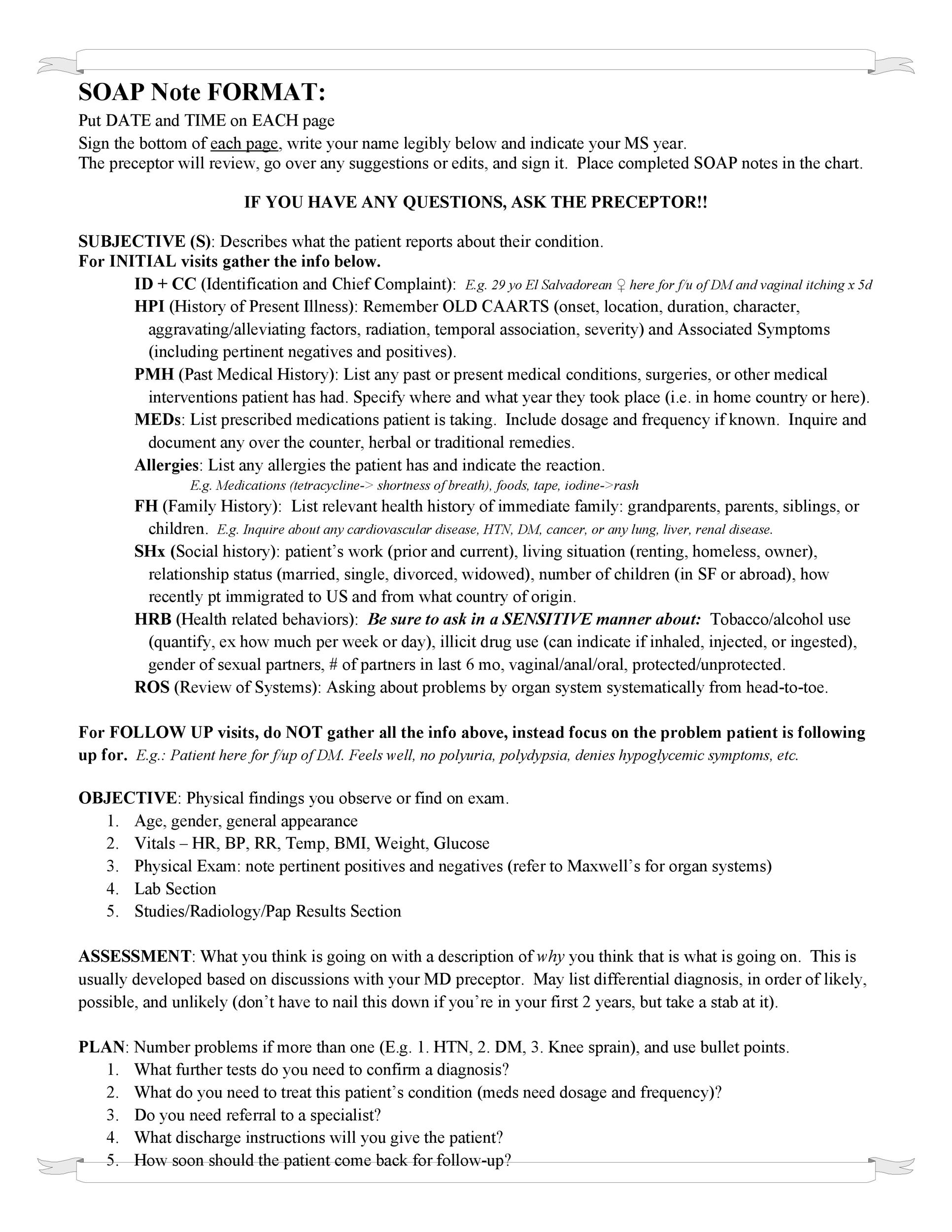 Free Soap Note Template 23