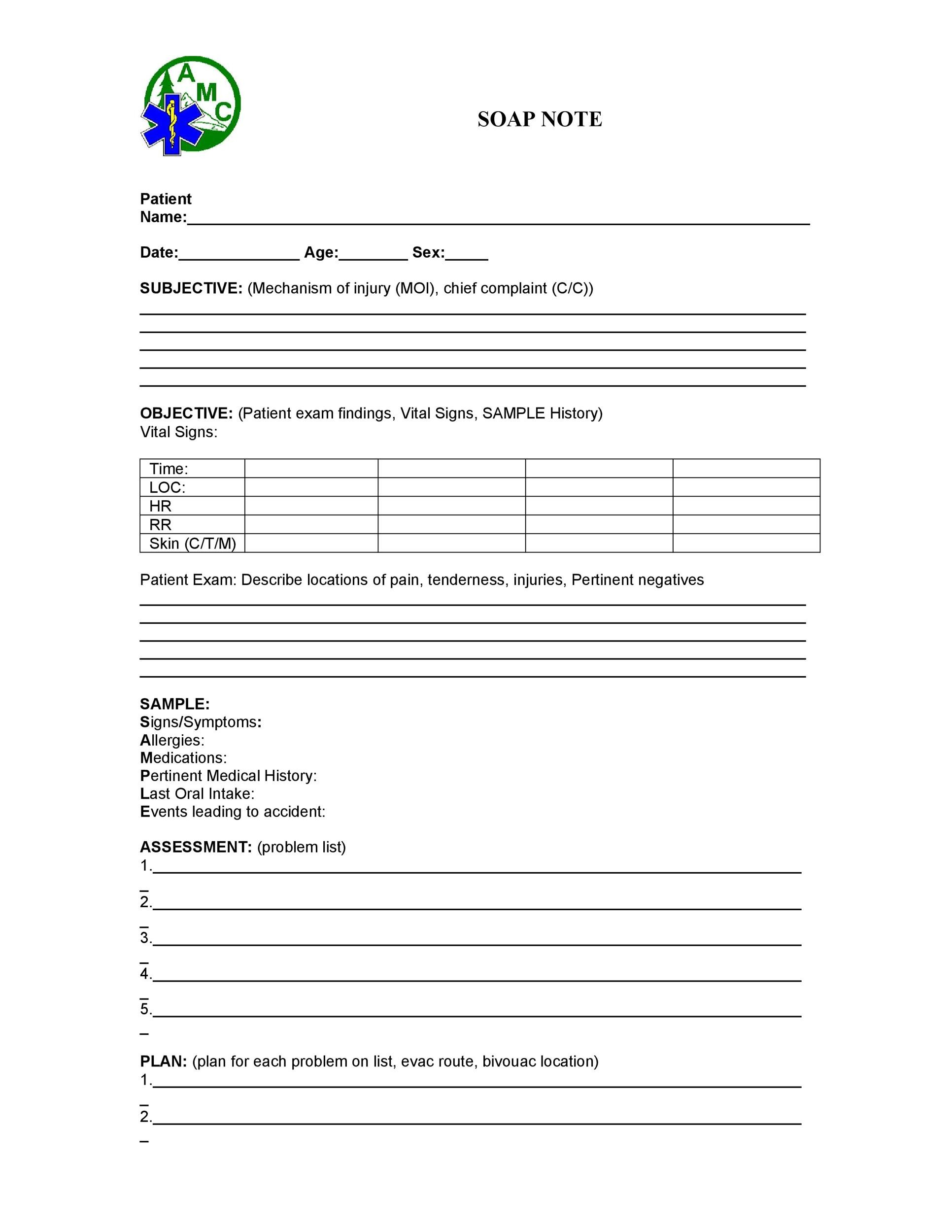 medical soap note template 40 Fantastic SOAP Note Examples