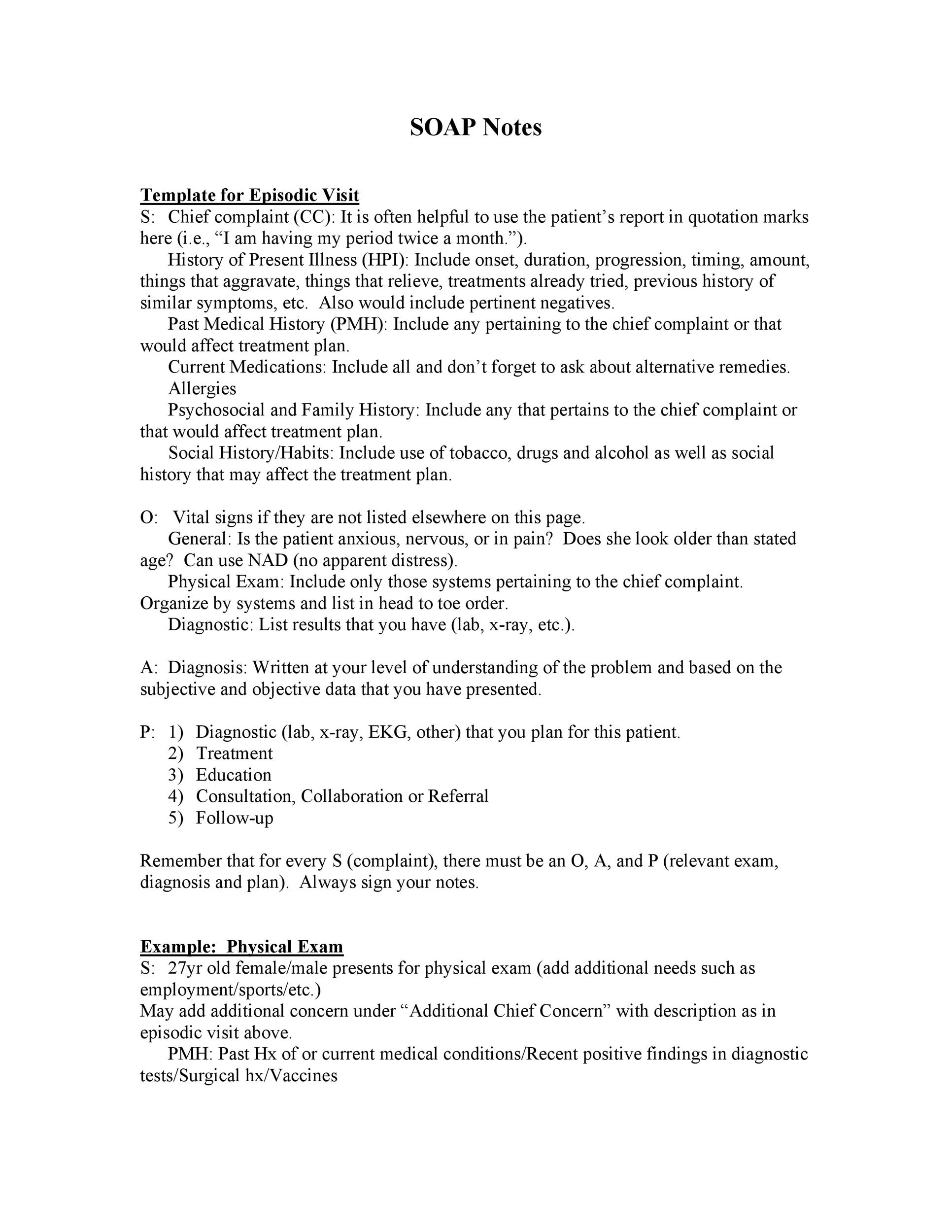 Free Soap Note Template 26