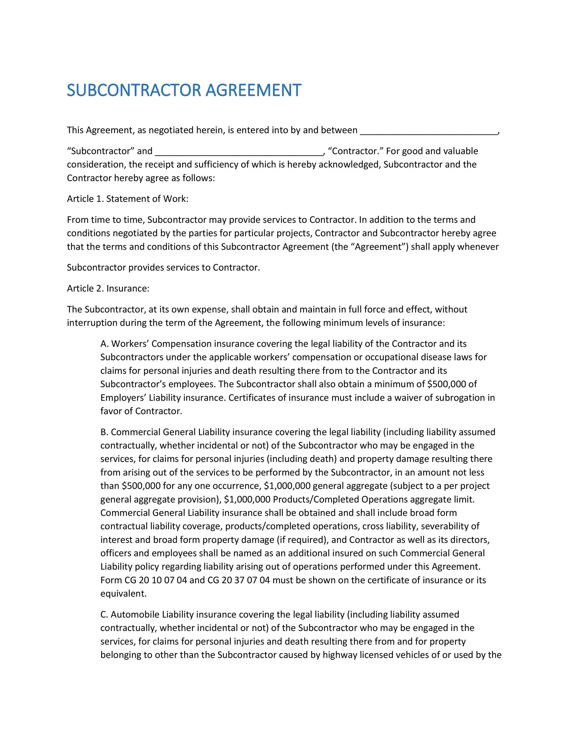 Need A Subcontractor Agreement  Free Templates Here