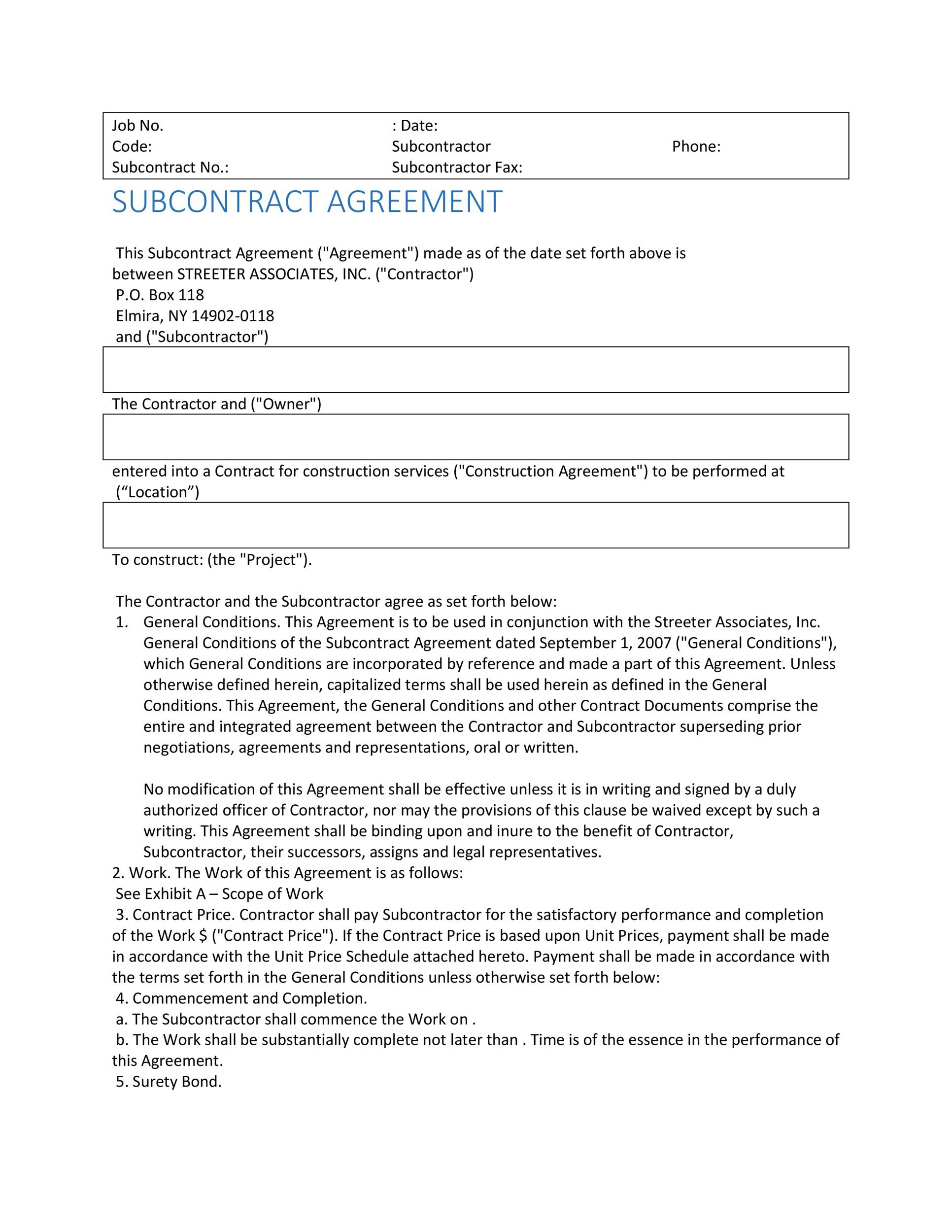 Free Subcontractor Agreement 04