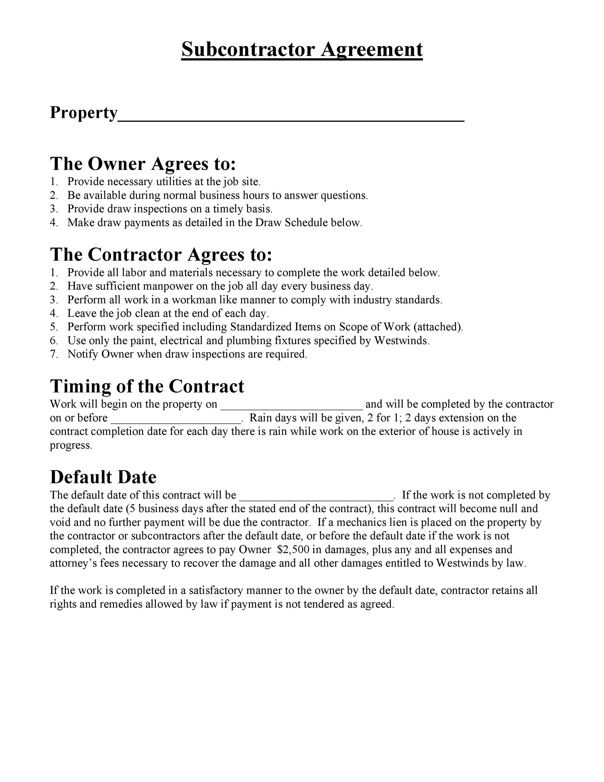 Free Subcontractor Agreement 06