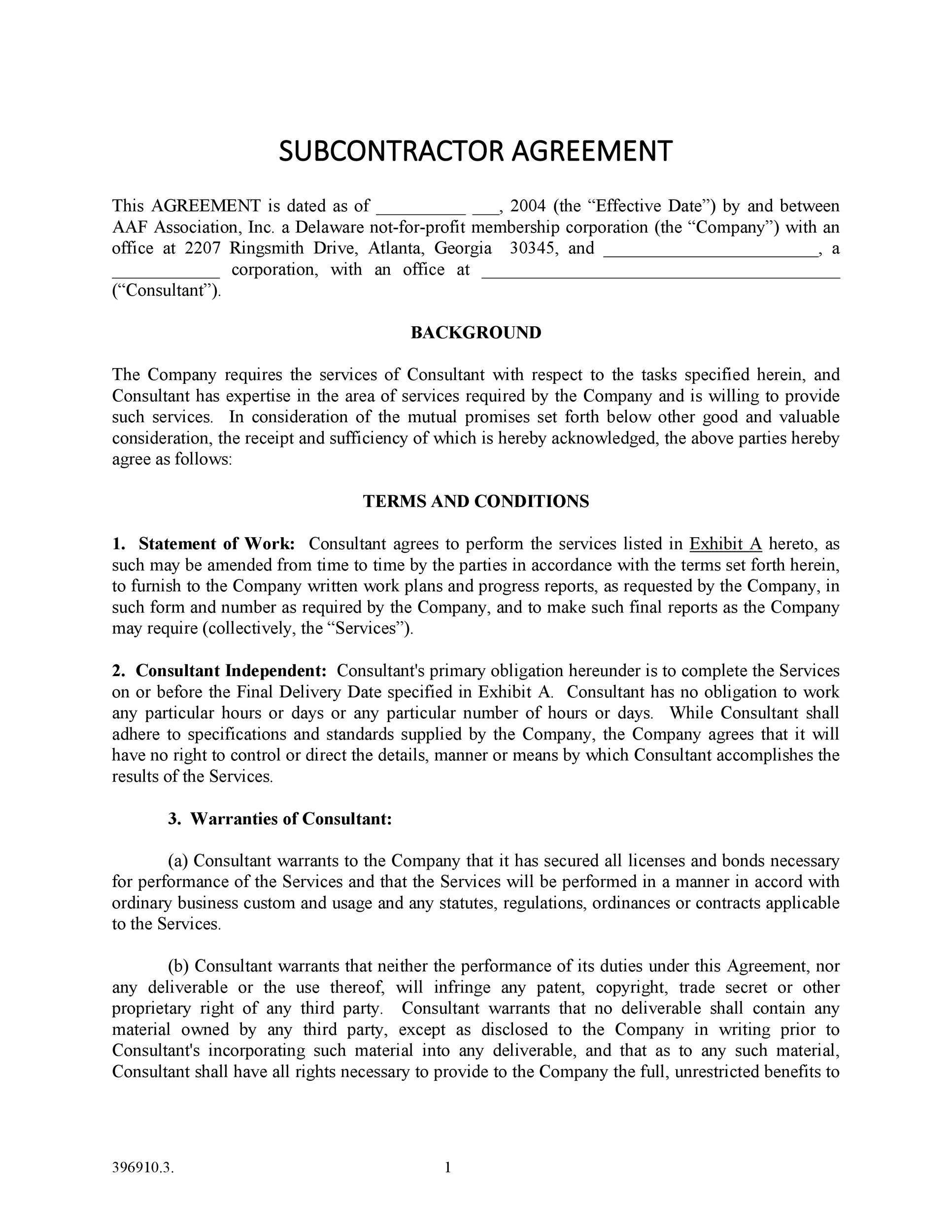 Free Subcontractor Agreement 07