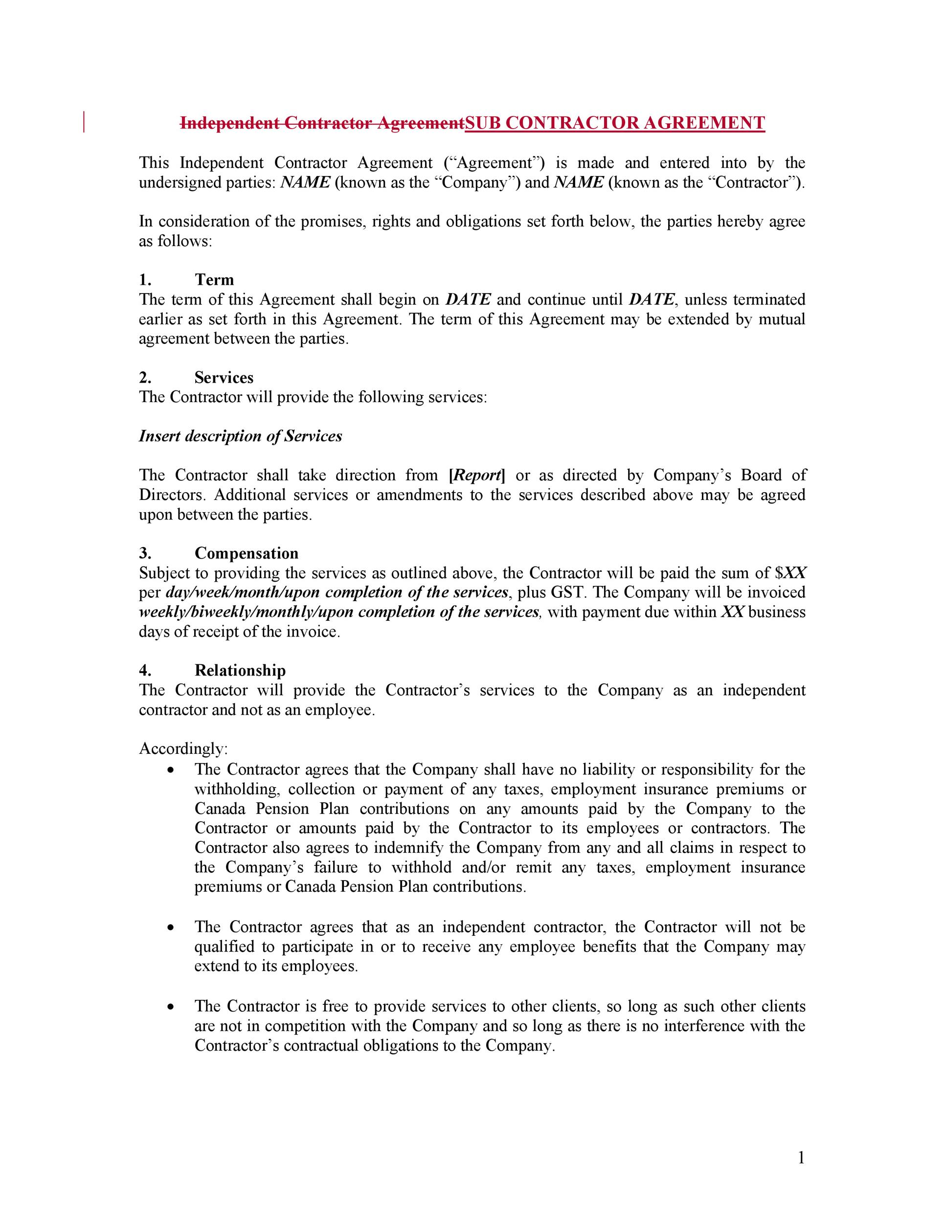 Independent Agreement Contract Sample Consulting Agreement Form