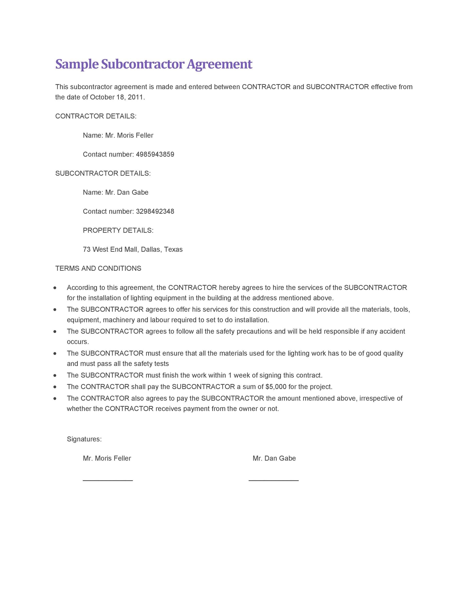 Free Subcontractor Agreement 09