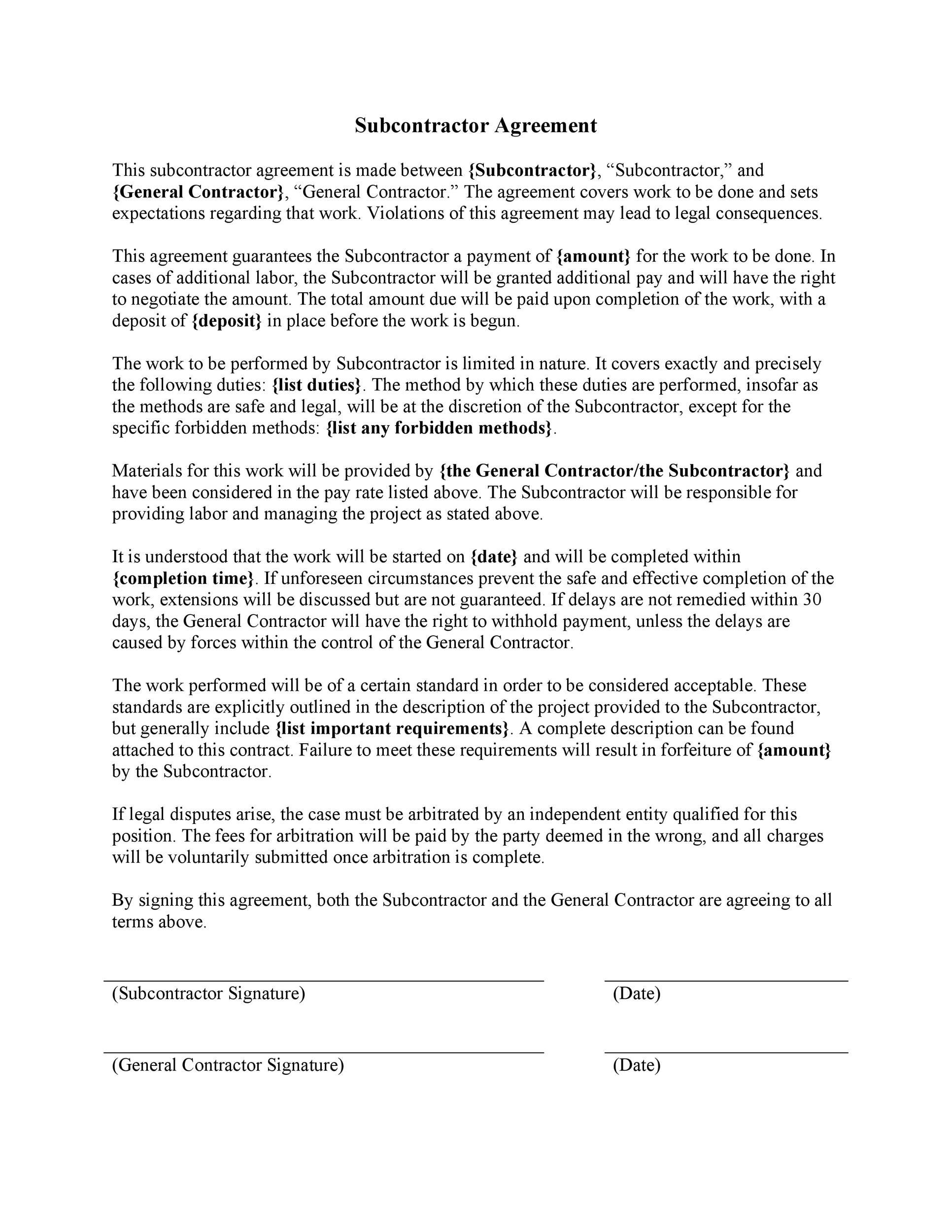 Free Subcontractor Agreement 11