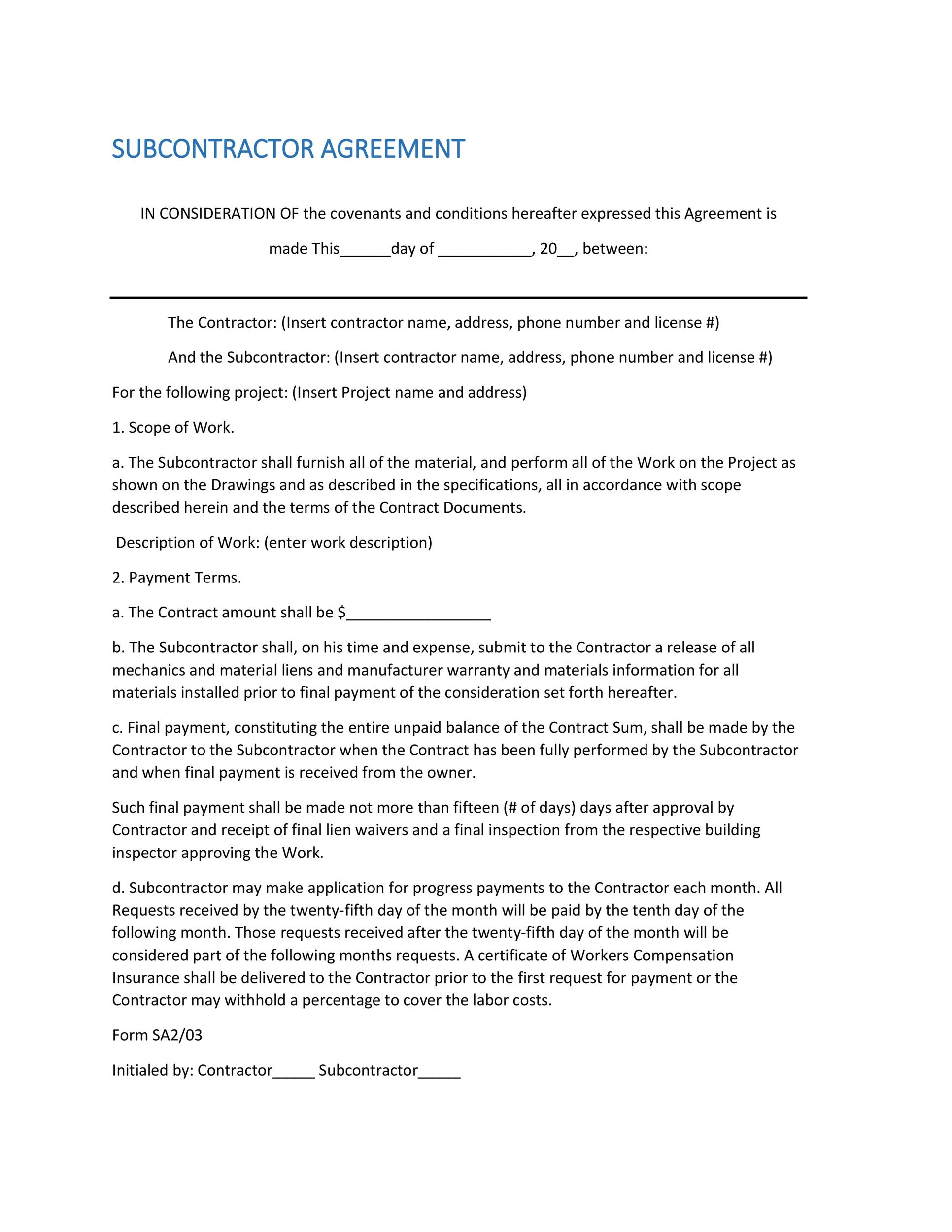 Free Subcontractor Agreement 12