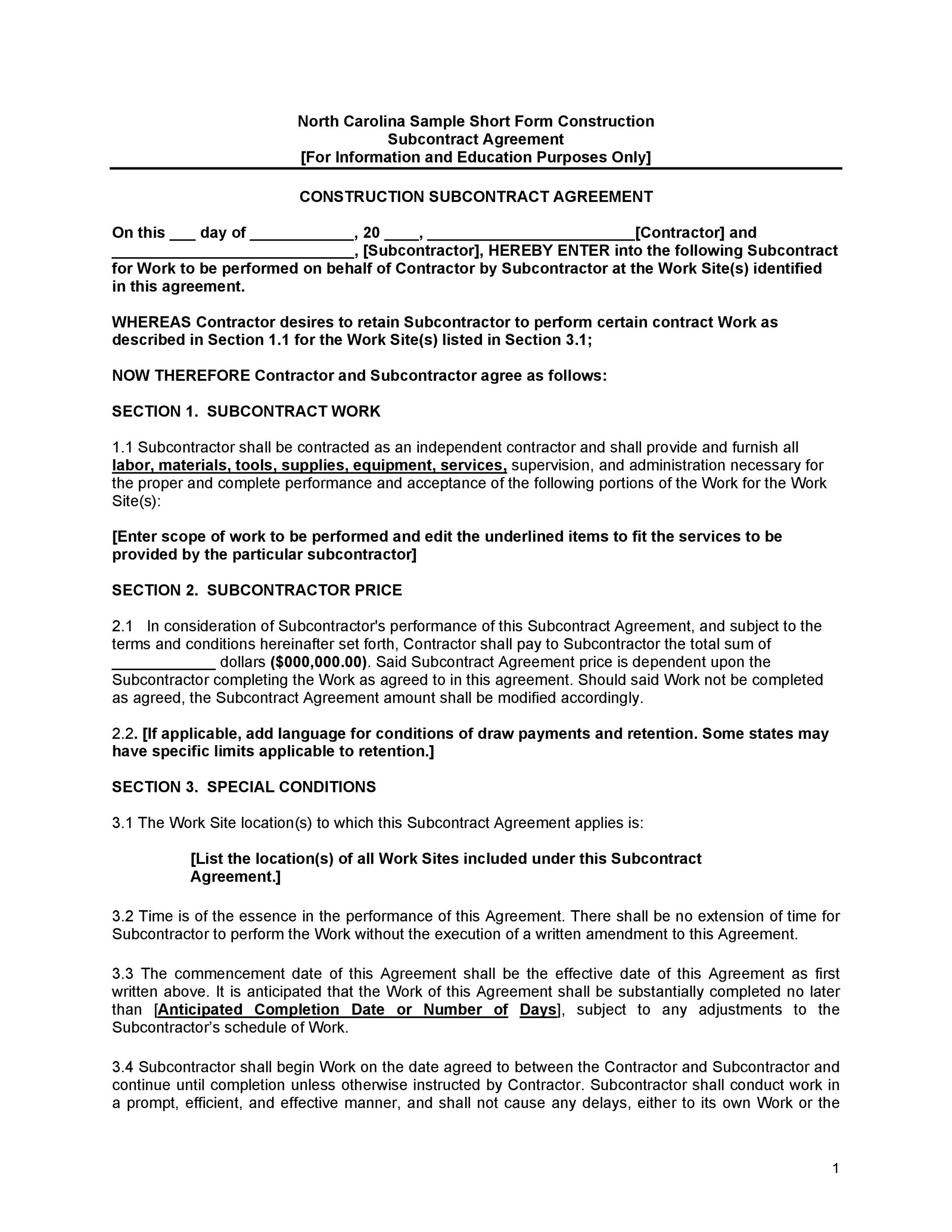 Free Subcontractor Agreement 14