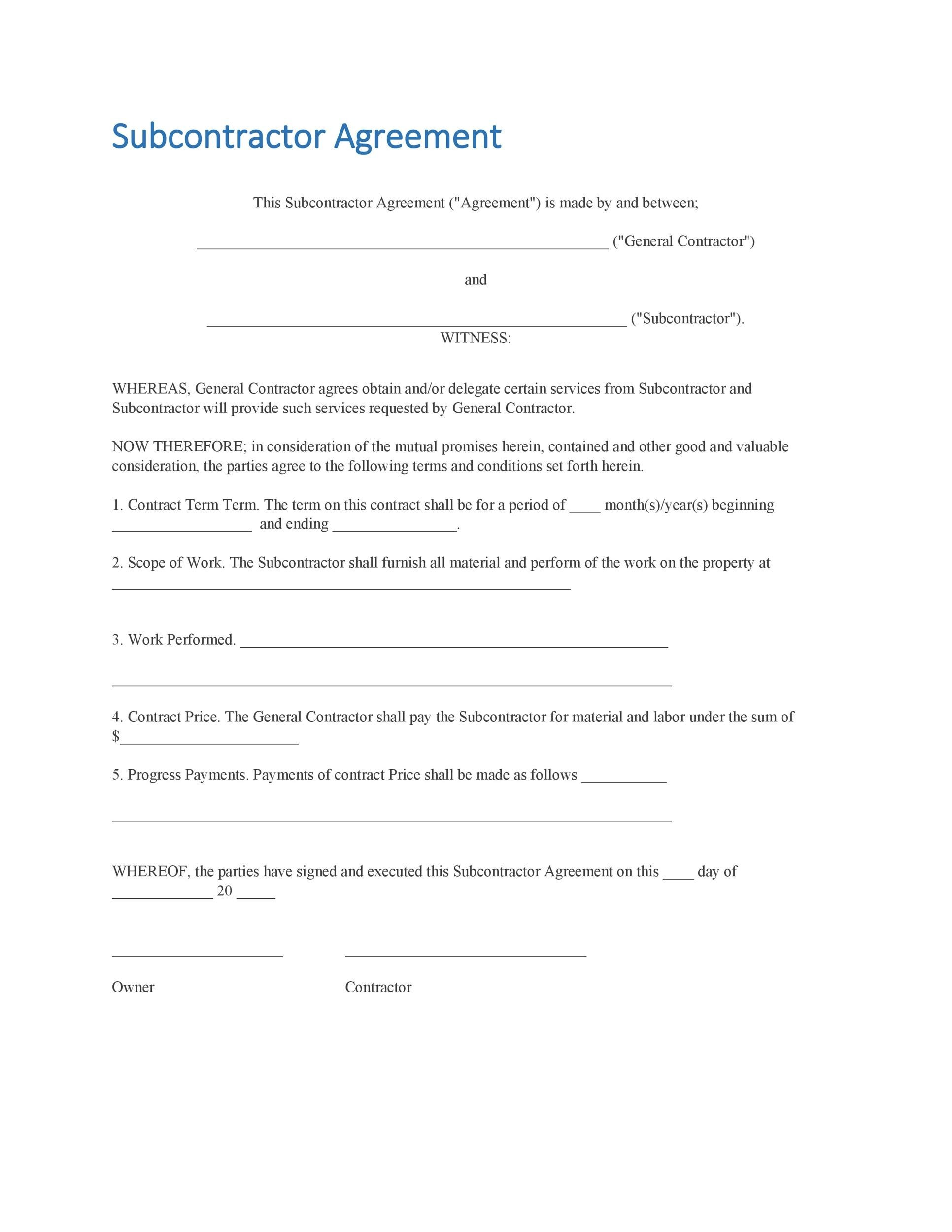 Need A Subcontractor Agreement 39 Free Templates Here