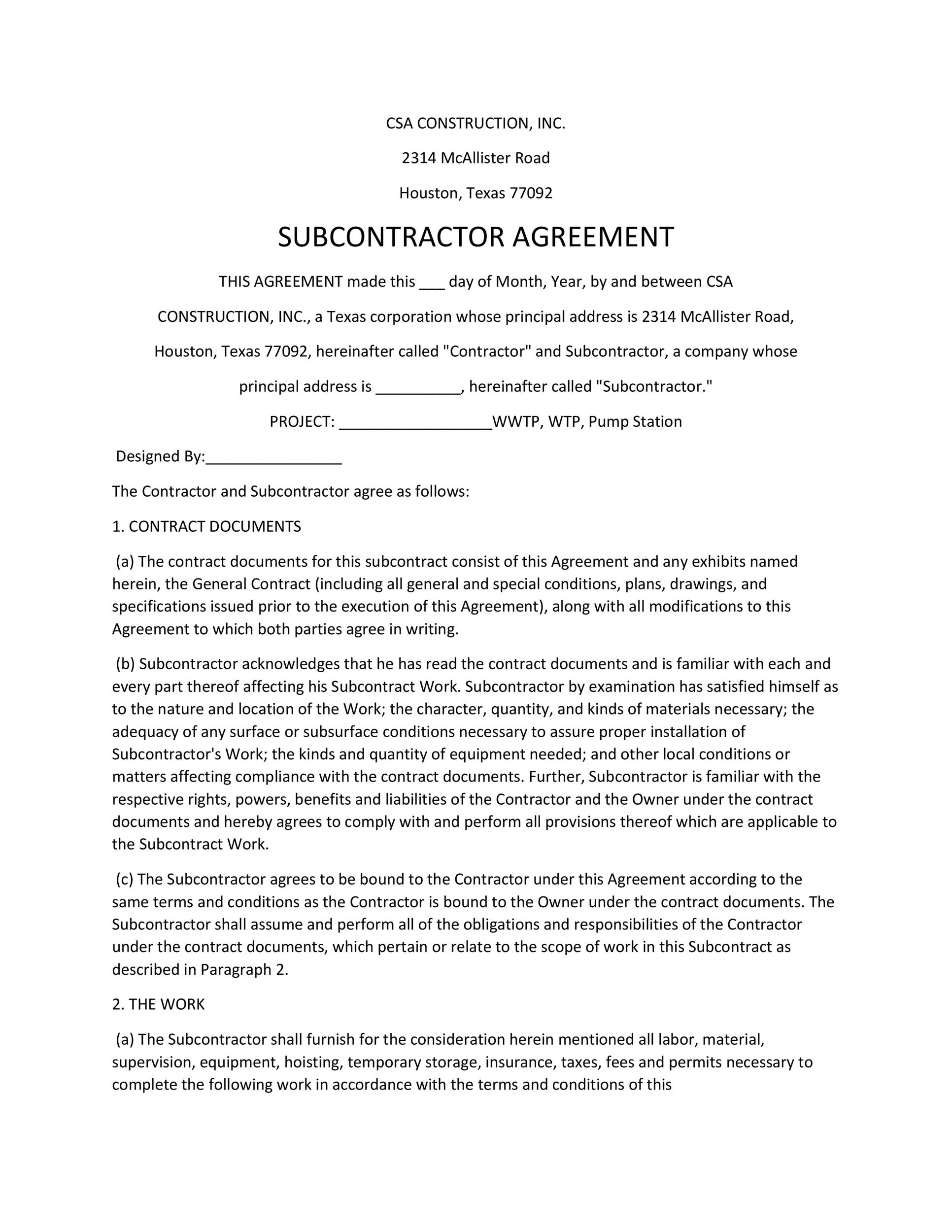 Subcontractor Agreement Form  BesikEightyCo