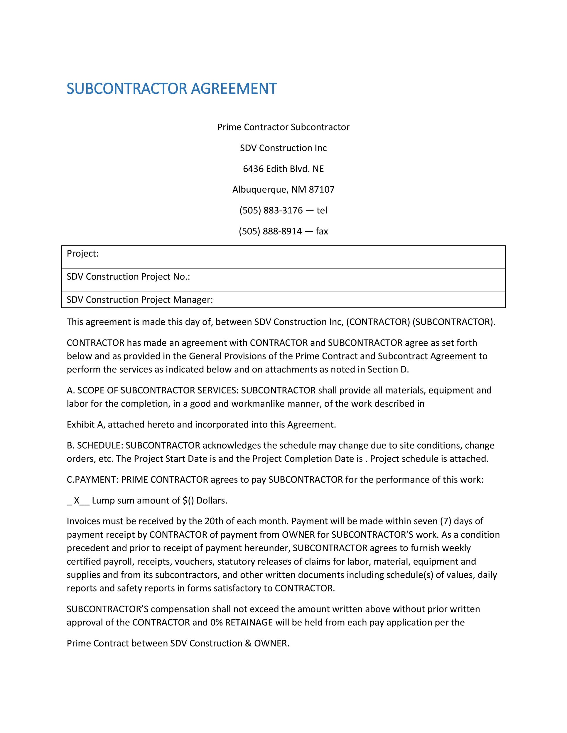 Free Subcontractor Agreement 19