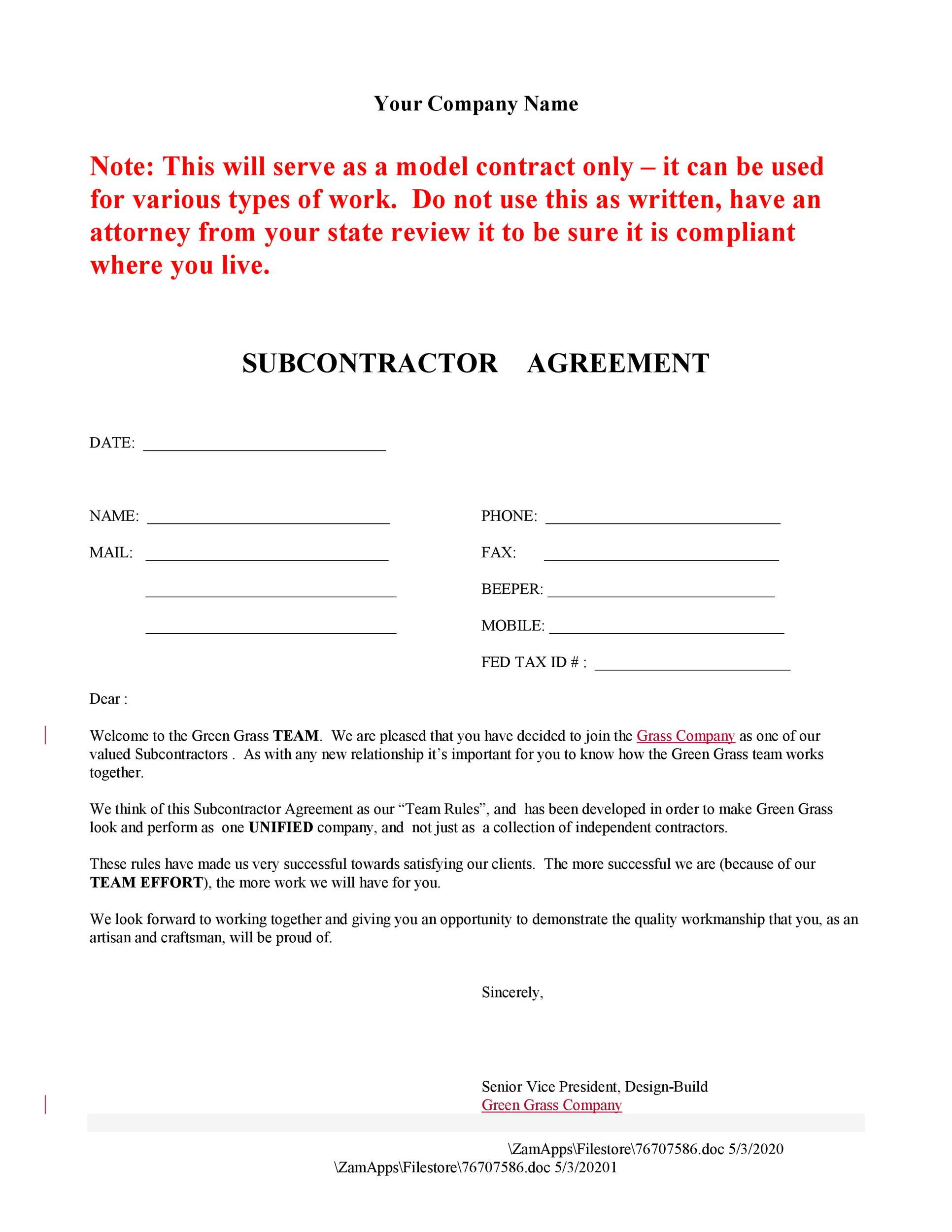 Subcontractor Agreements Subcontractor Agreement For Subcontractor