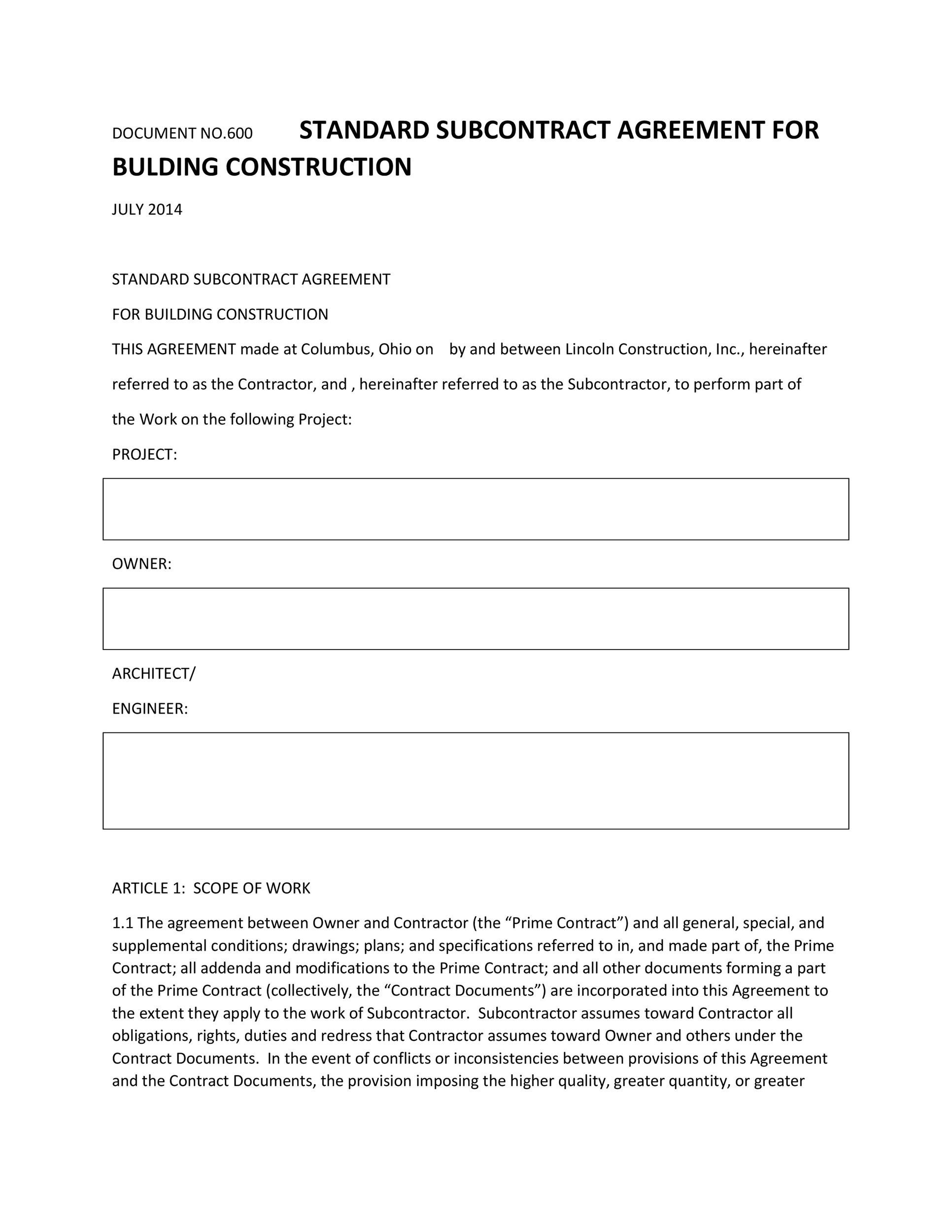 Free Subcontractor Agreement 23
