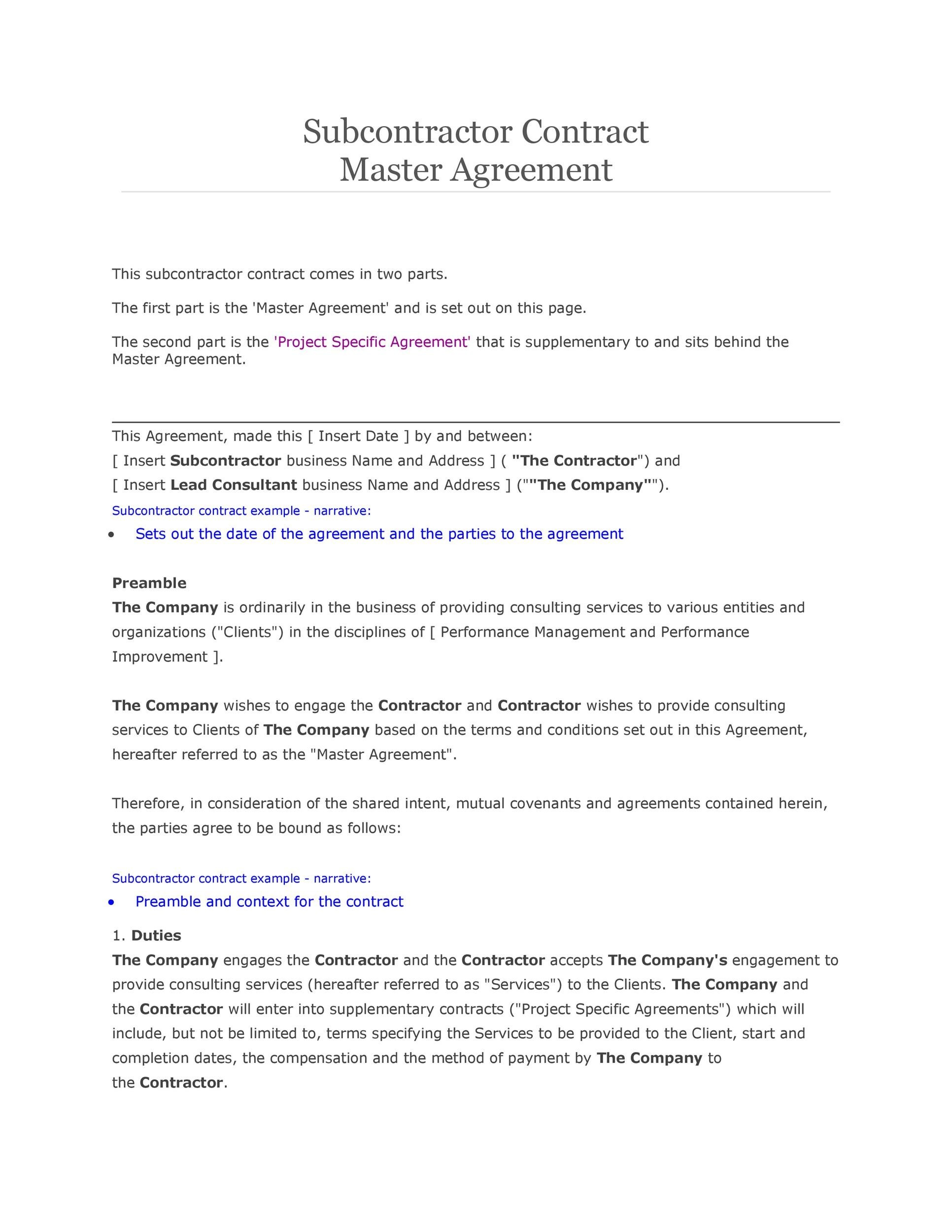 Printable Subcontractor Agreement 24  Format For Agreement