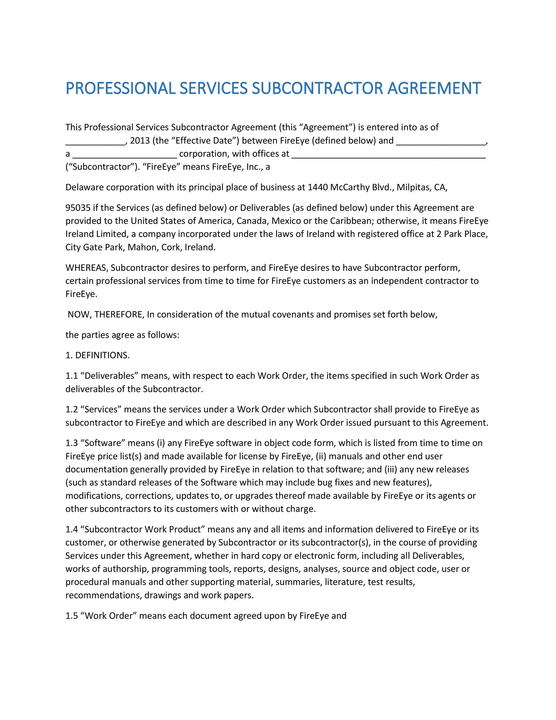 Need A Subcontractor Agreement? 39 Free Templates Here