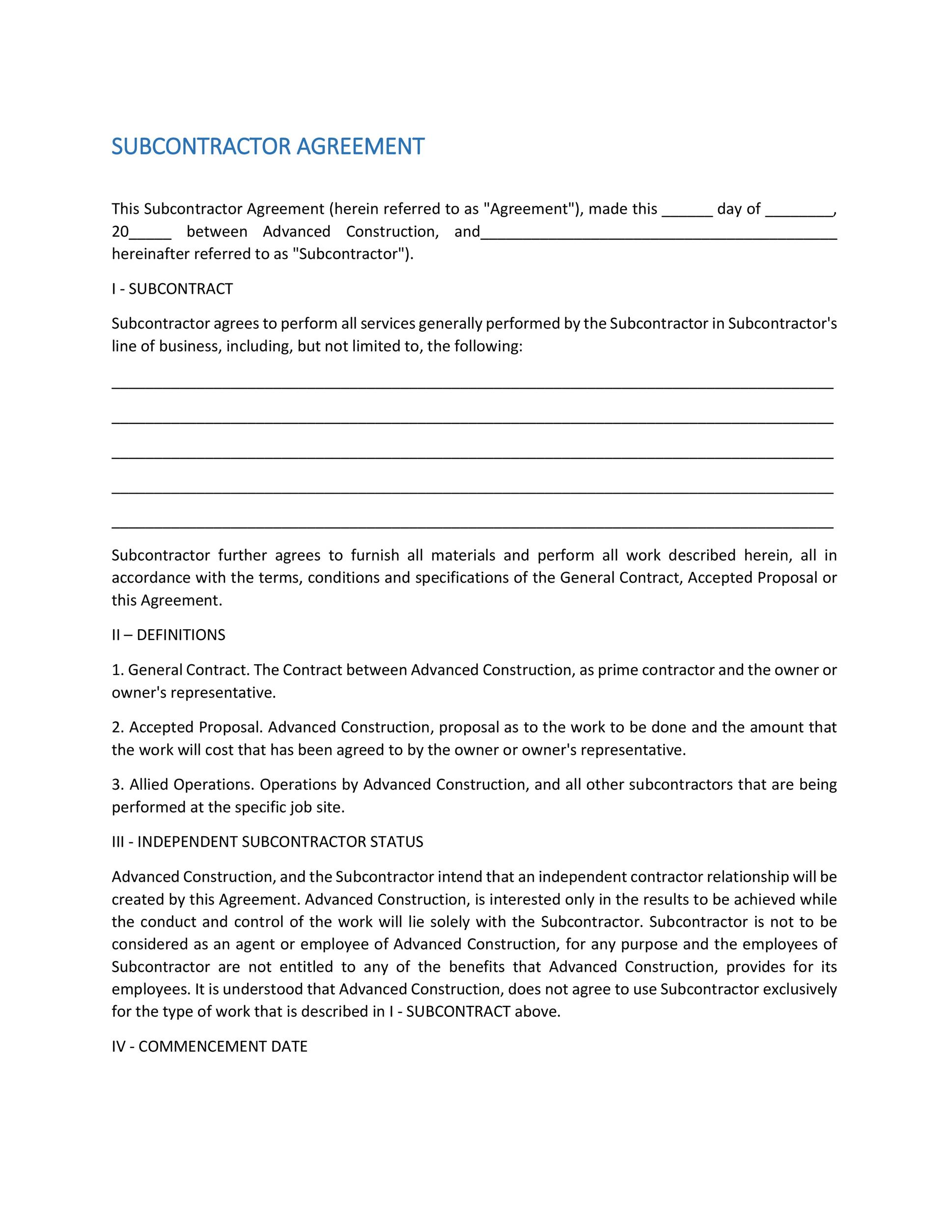 Free Subcontractor Agreement 35