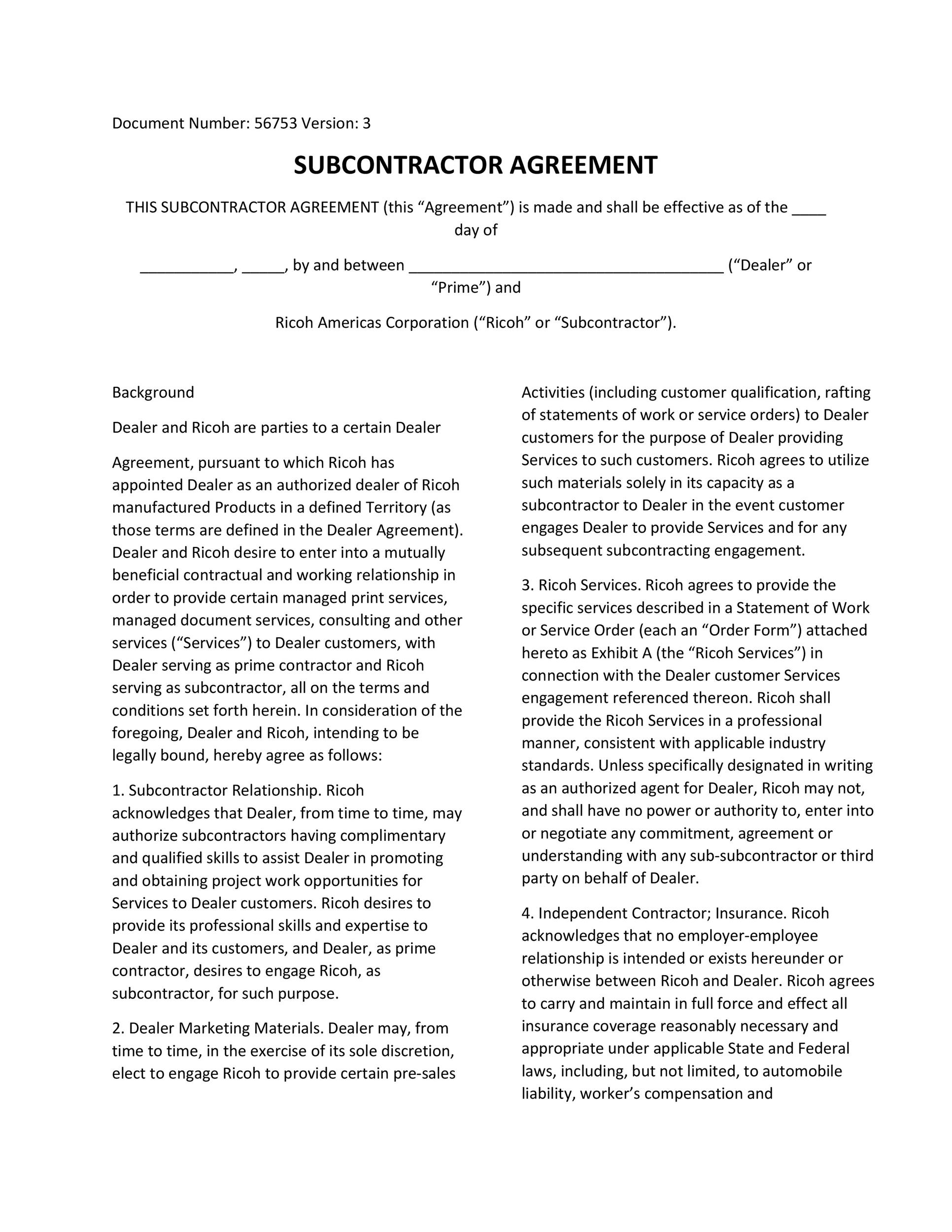 Free Subcontractor Agreement 36