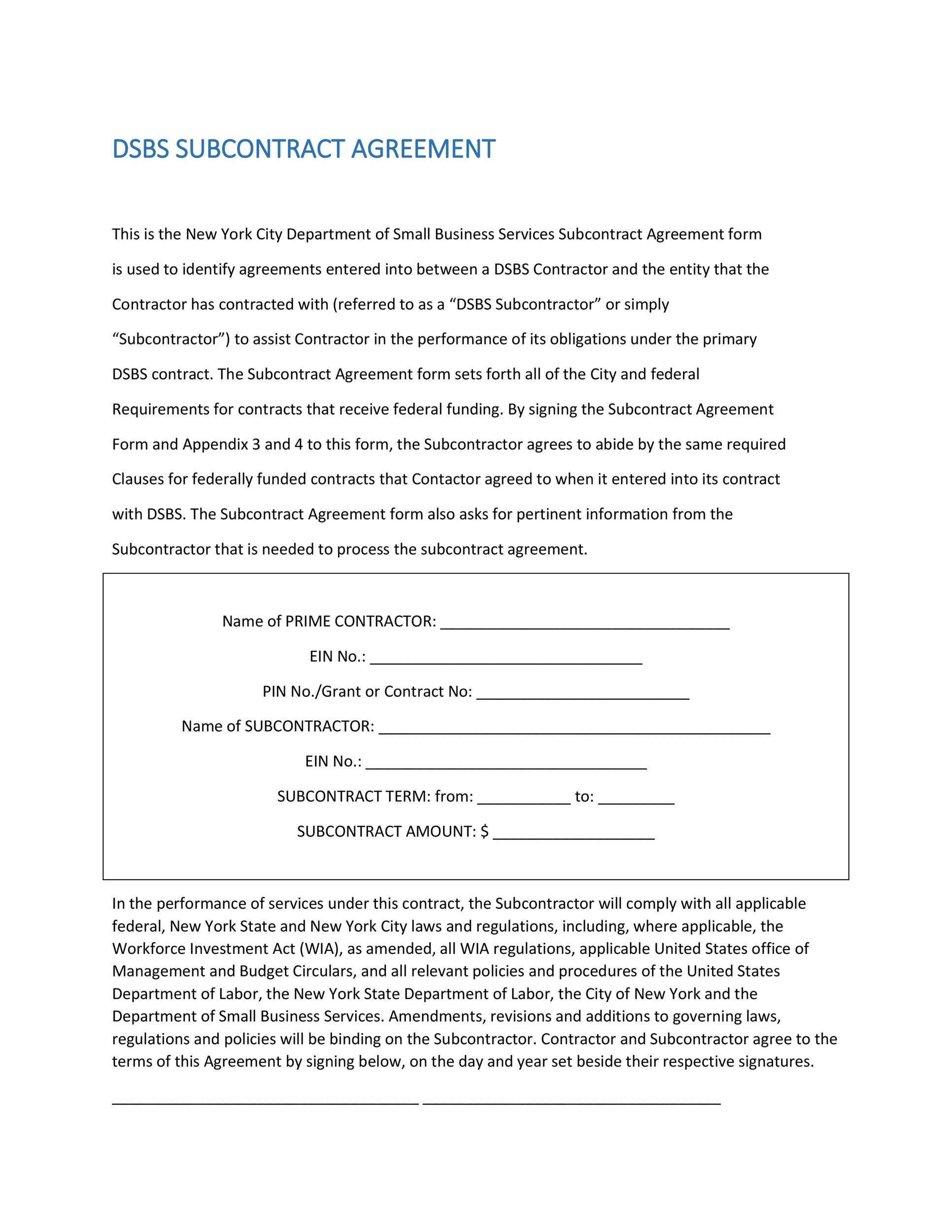 cda agreement template - need a subcontractor agreement 39 free templates here