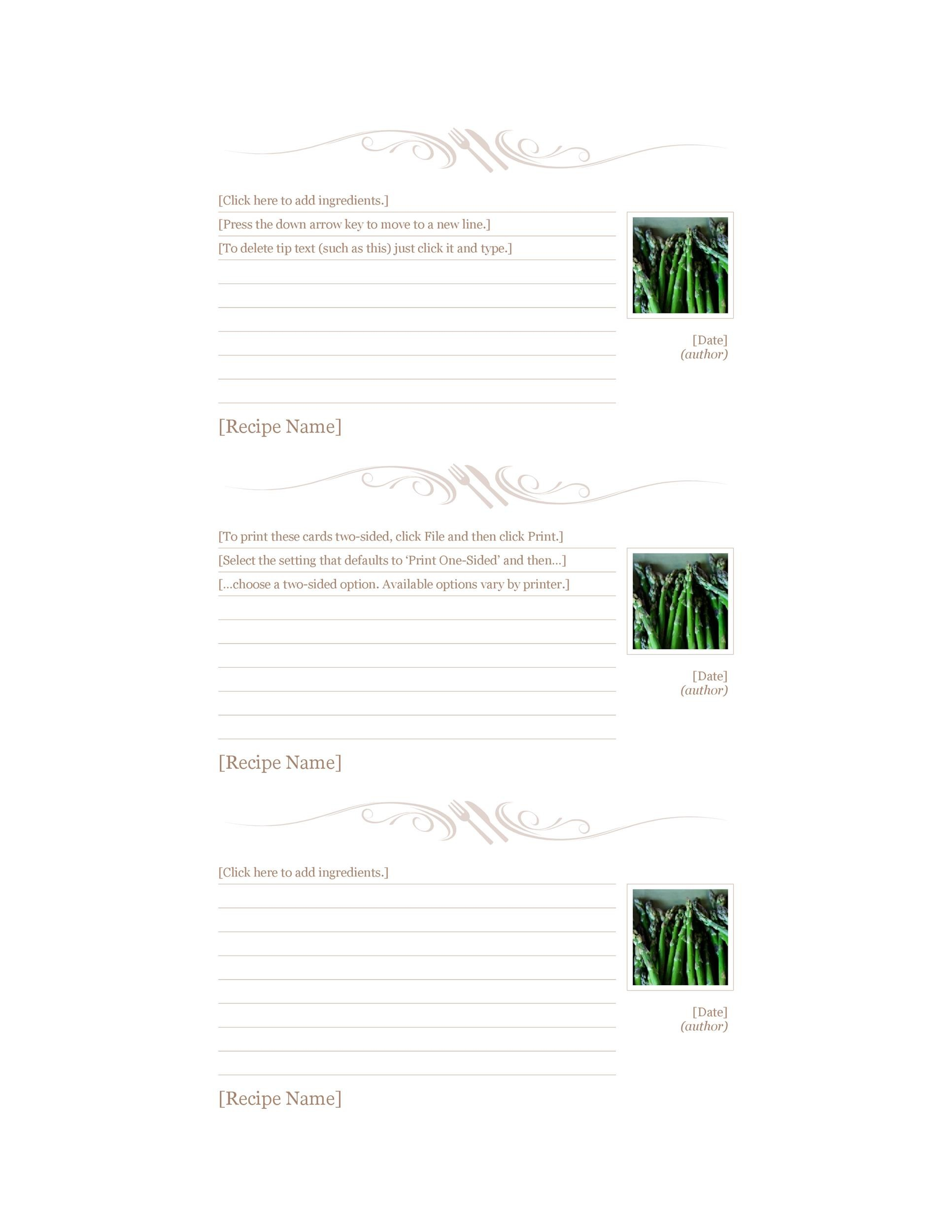 Free cookbook template 02