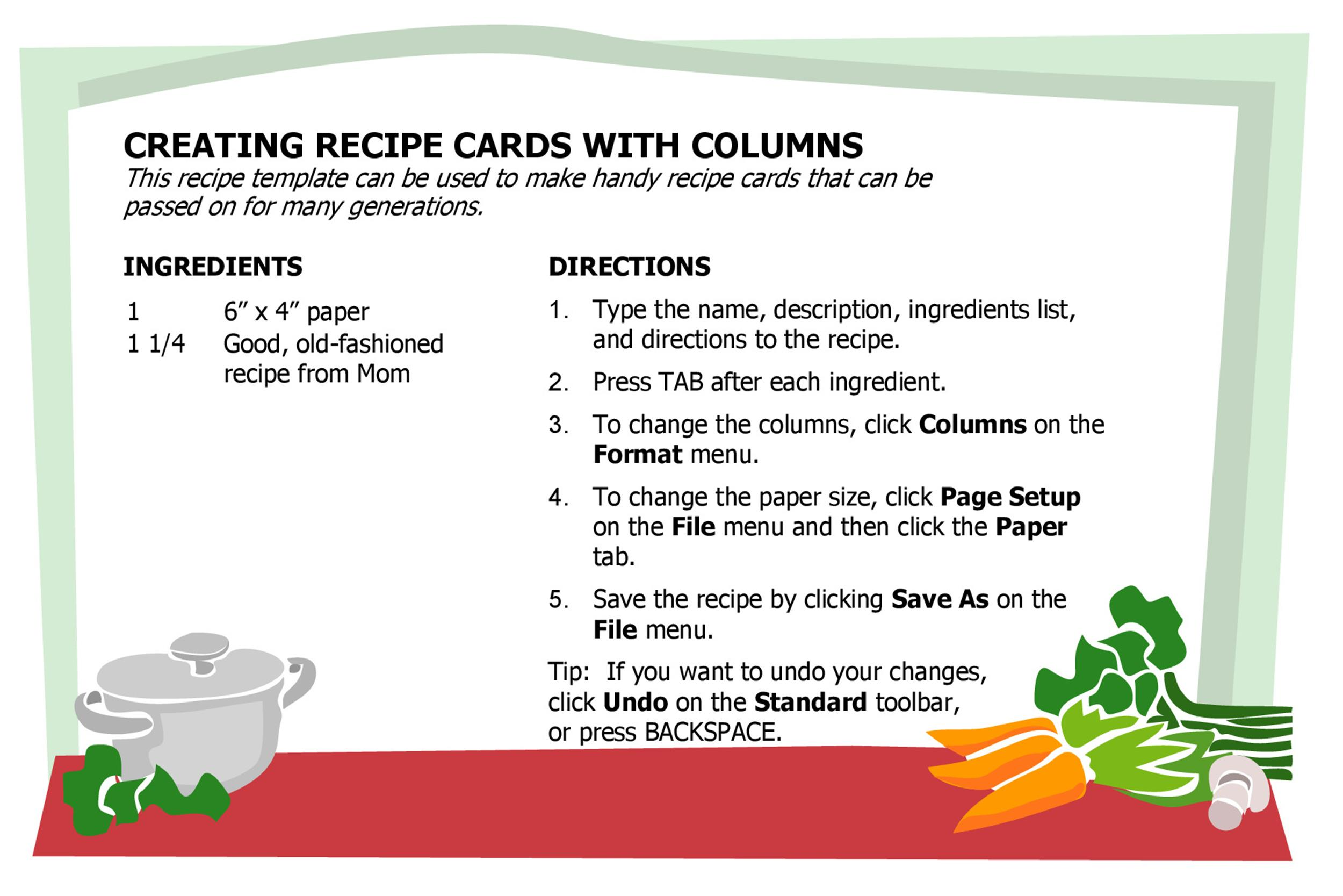 Recipe Templates For Word - Template Examples