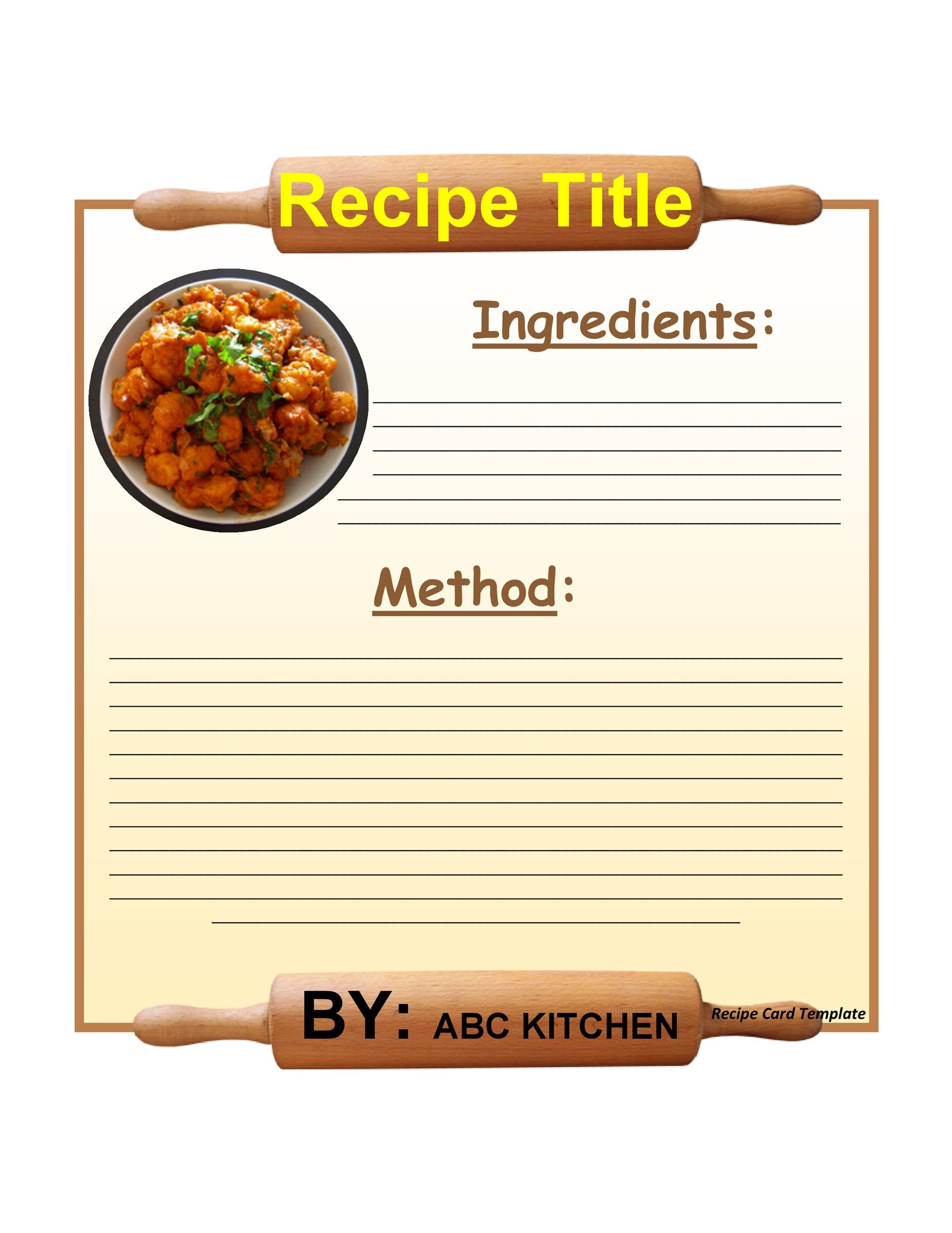 recipe card template download free